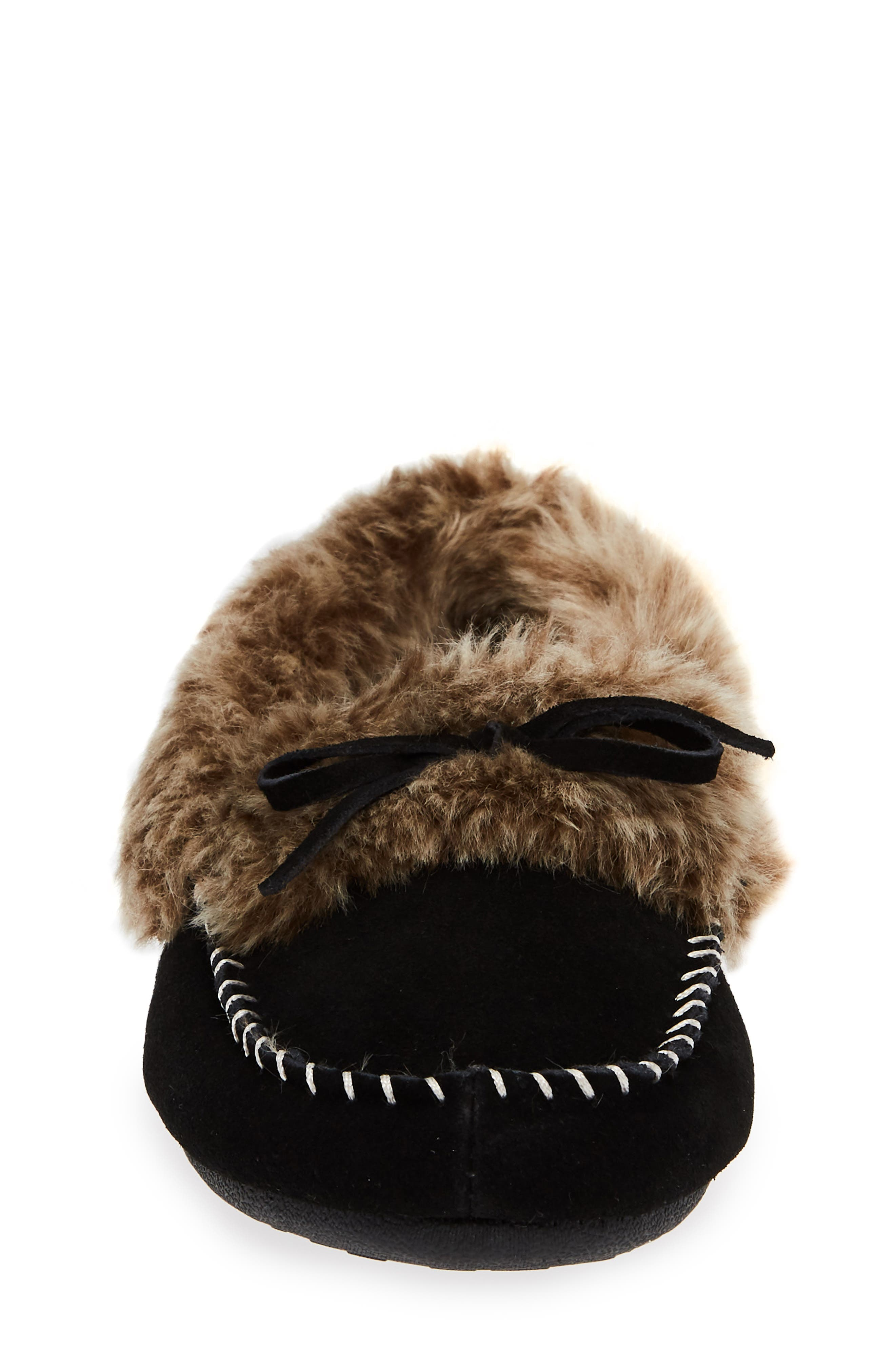 ACORN, Faux Fur Trim Moccasin Indoor/Outdoor Slipper, Alternate thumbnail 4, color, BLACK SUEDE