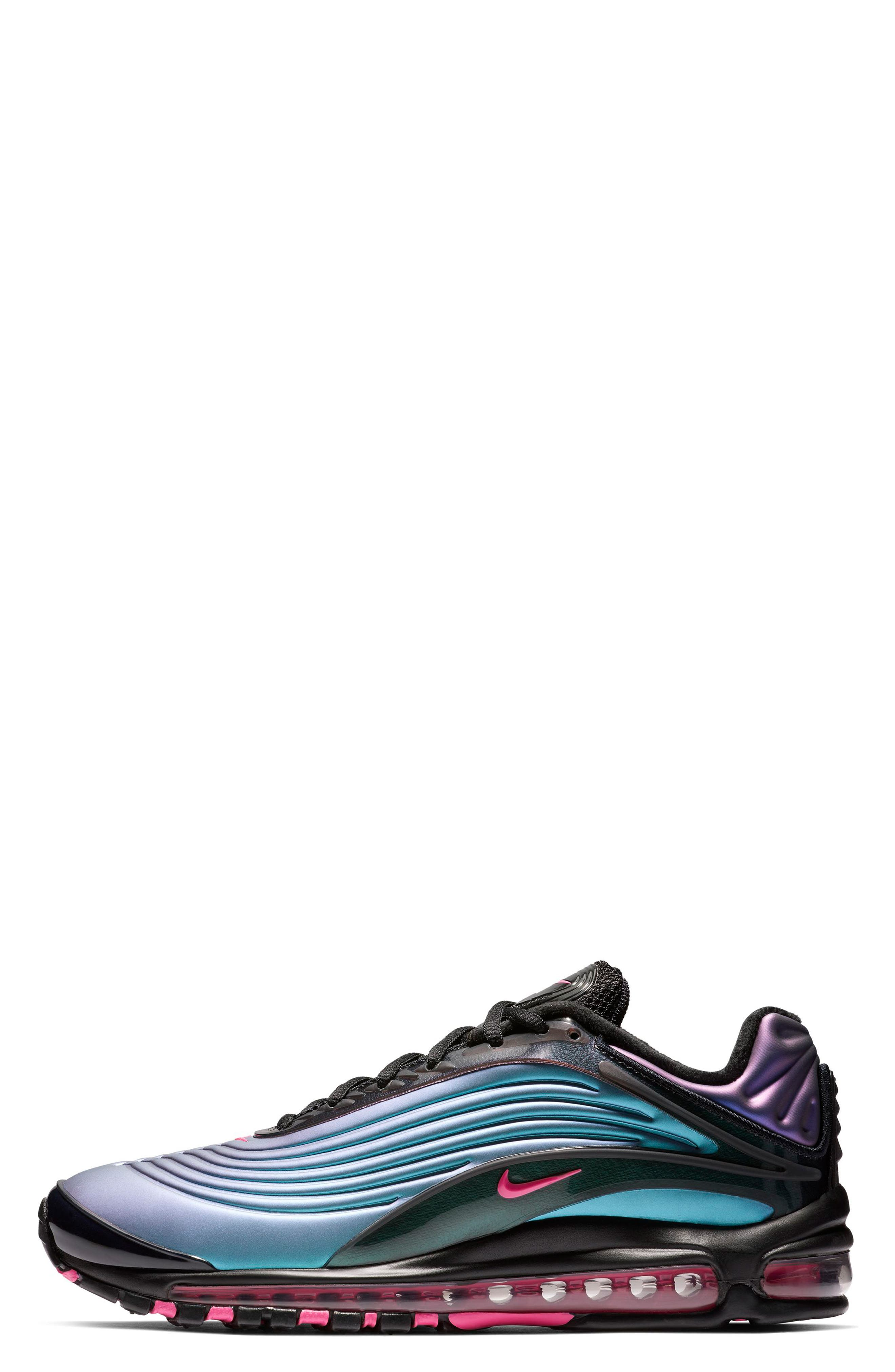 NIKE, Air Max Deluxe Sneaker, Alternate thumbnail 3, color, BLACK/ LASER FUCHSIA