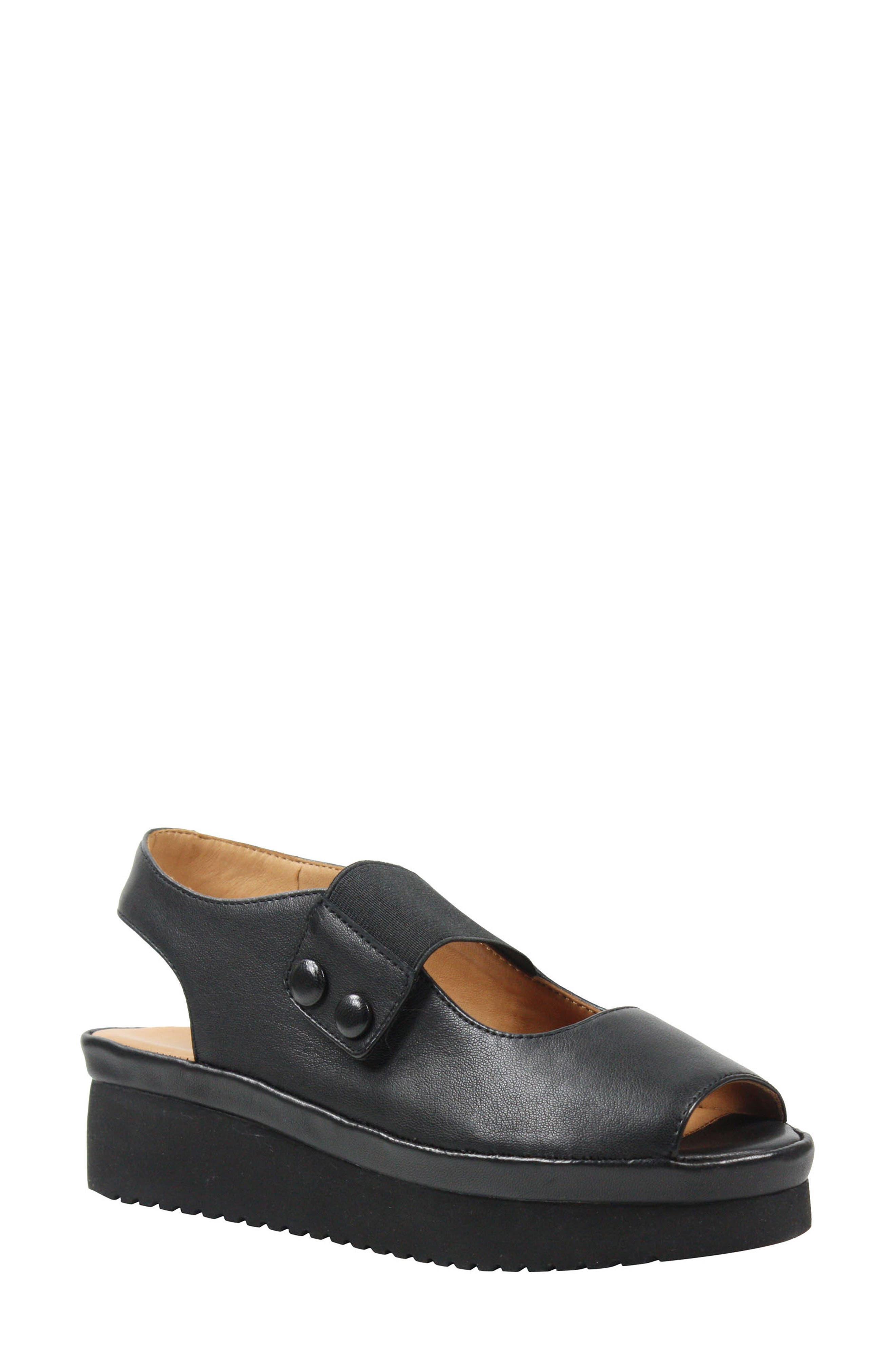 L'AMOUR DES PIEDS, Adalicia Platform Sandal, Main thumbnail 1, color, BLACK LEATHER