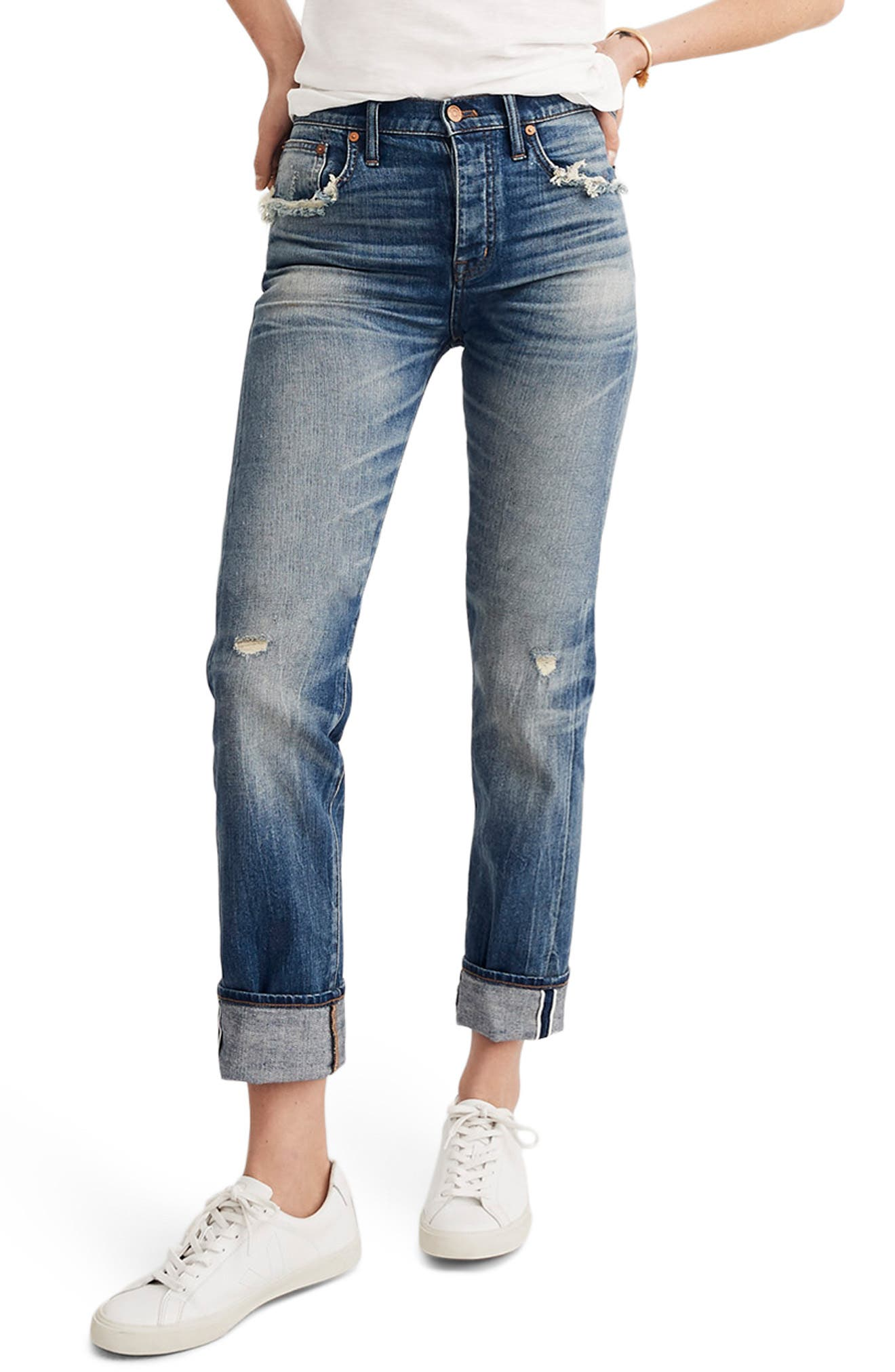 MADEWELL, Selvedge Distressed Straight Leg Jeans, Main thumbnail 1, color, CLOVERDALE