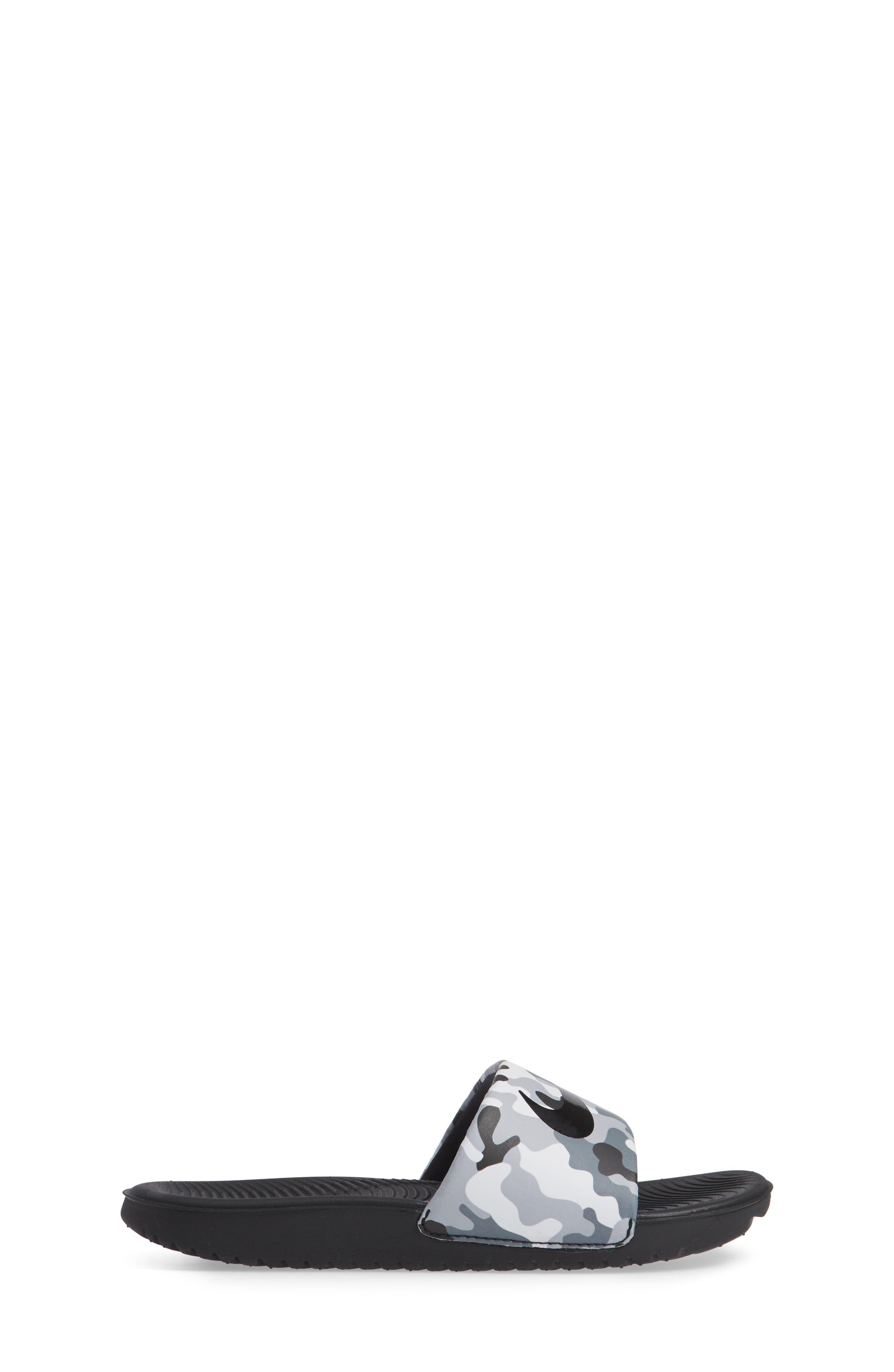 NIKE, Kawa Slide Sandal, Alternate thumbnail 3, color, WOLF GREY/ BLACK/ WHITE