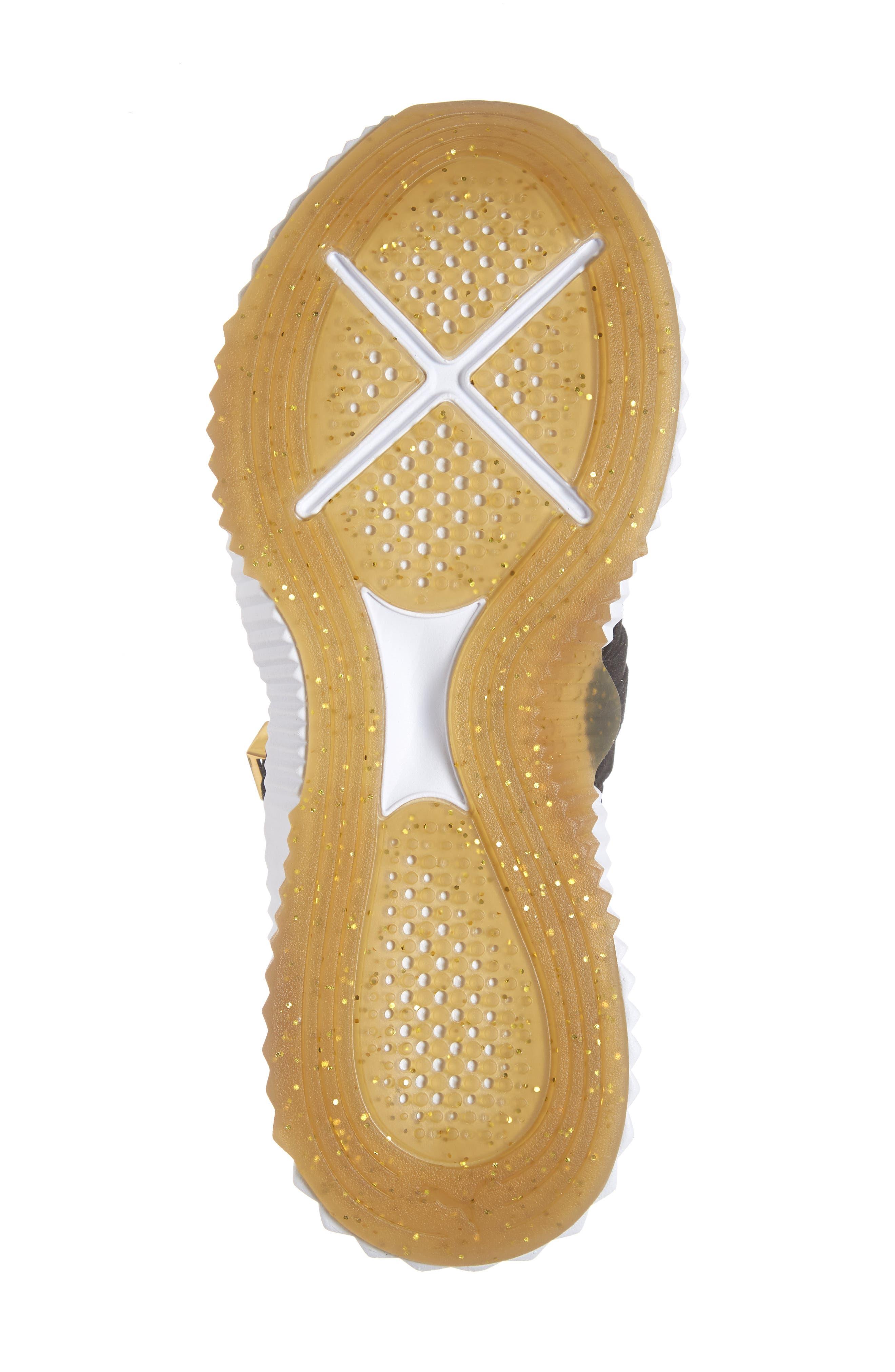 PUMA, Defy Mid Varsity Sneaker, Alternate thumbnail 6, color, BLACK/ METALLIC GOLD