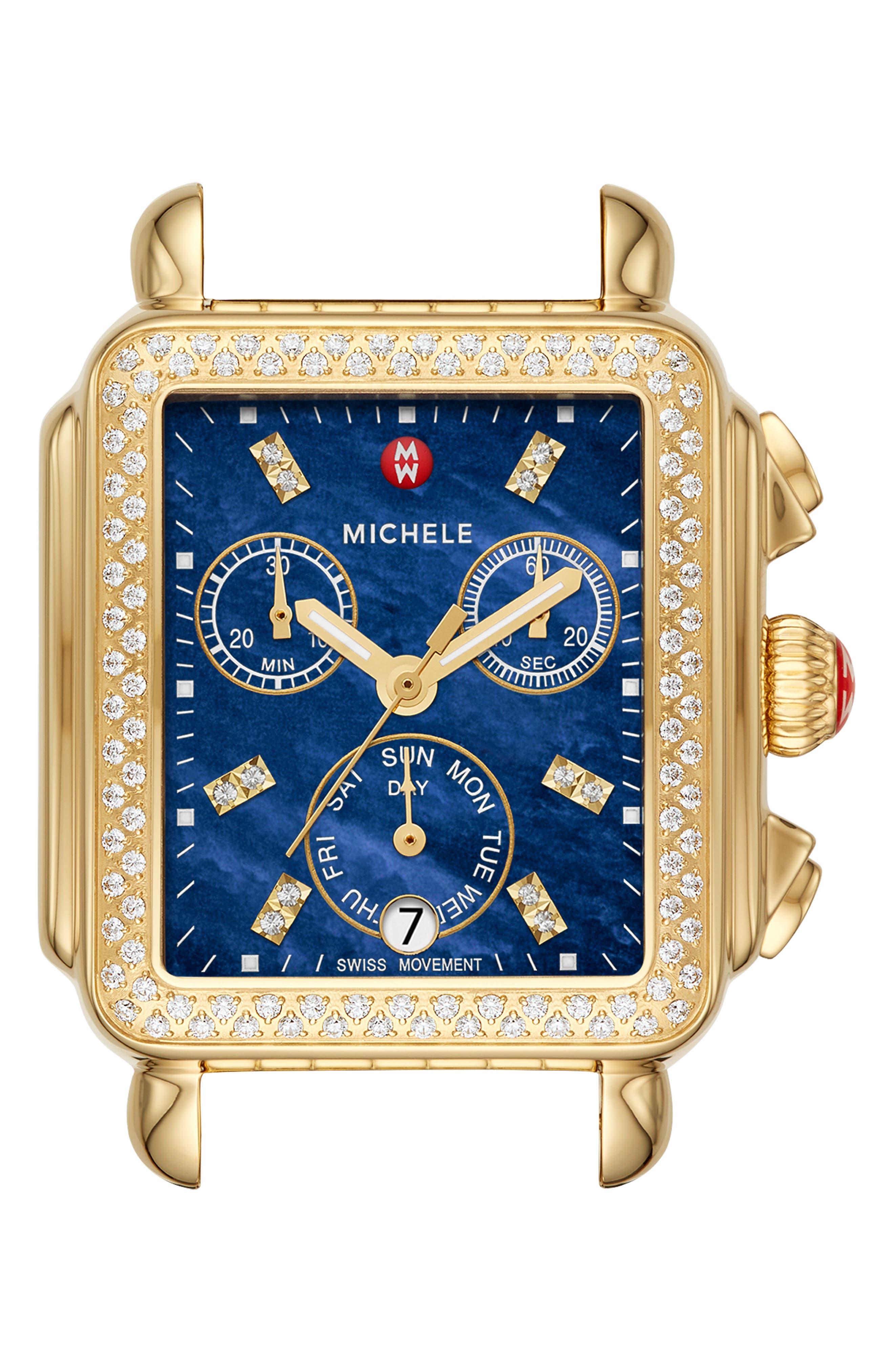 MICHELE Deco Diamond Diamond Dial Watch Head, 33mm x 35mm, Main, color, GOLD/ DEEP BLUE MOP