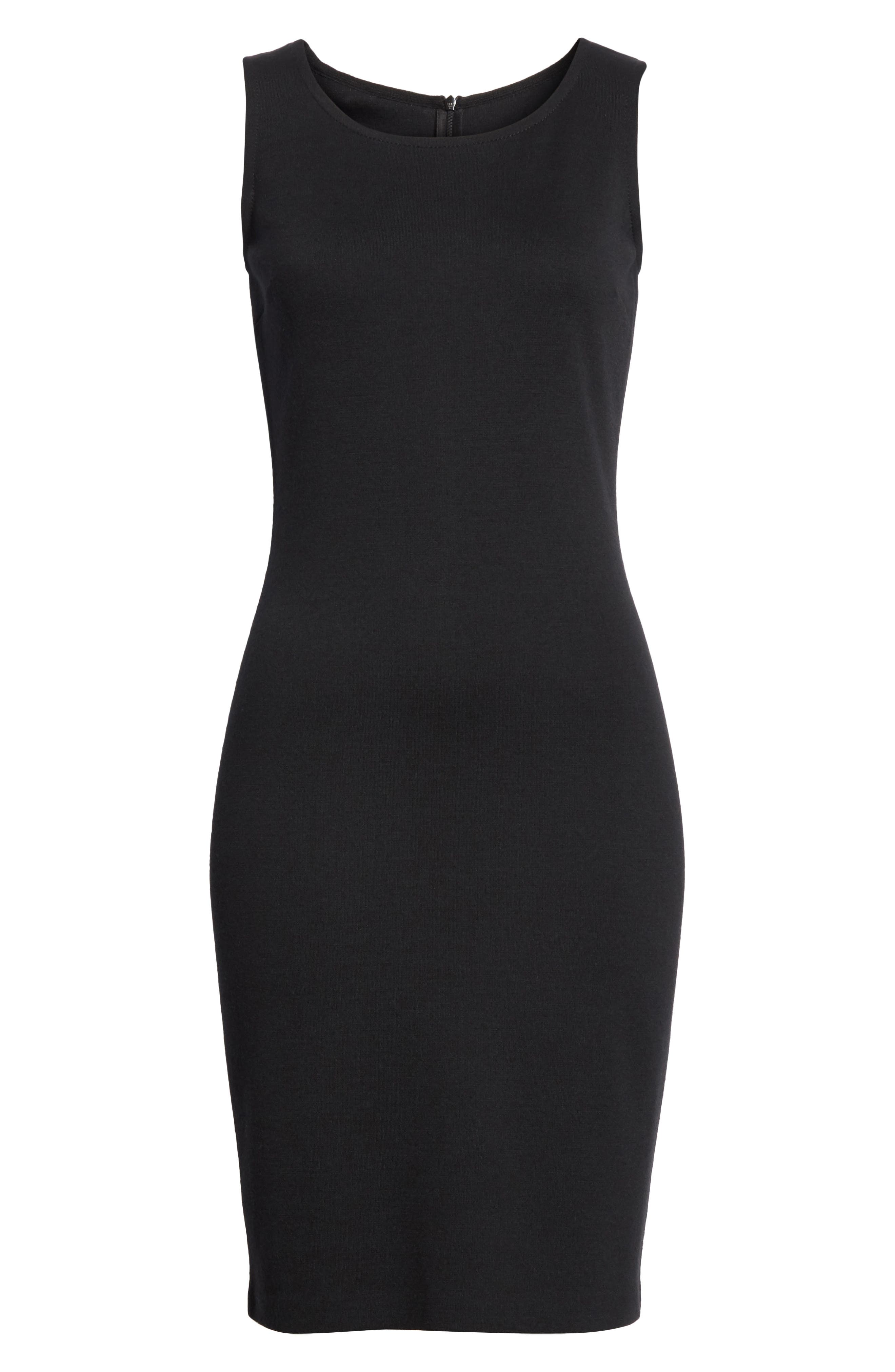 ST. JOHN COLLECTION, Sleeveless Milano Knit Dress, Alternate thumbnail 7, color, CAVIAR