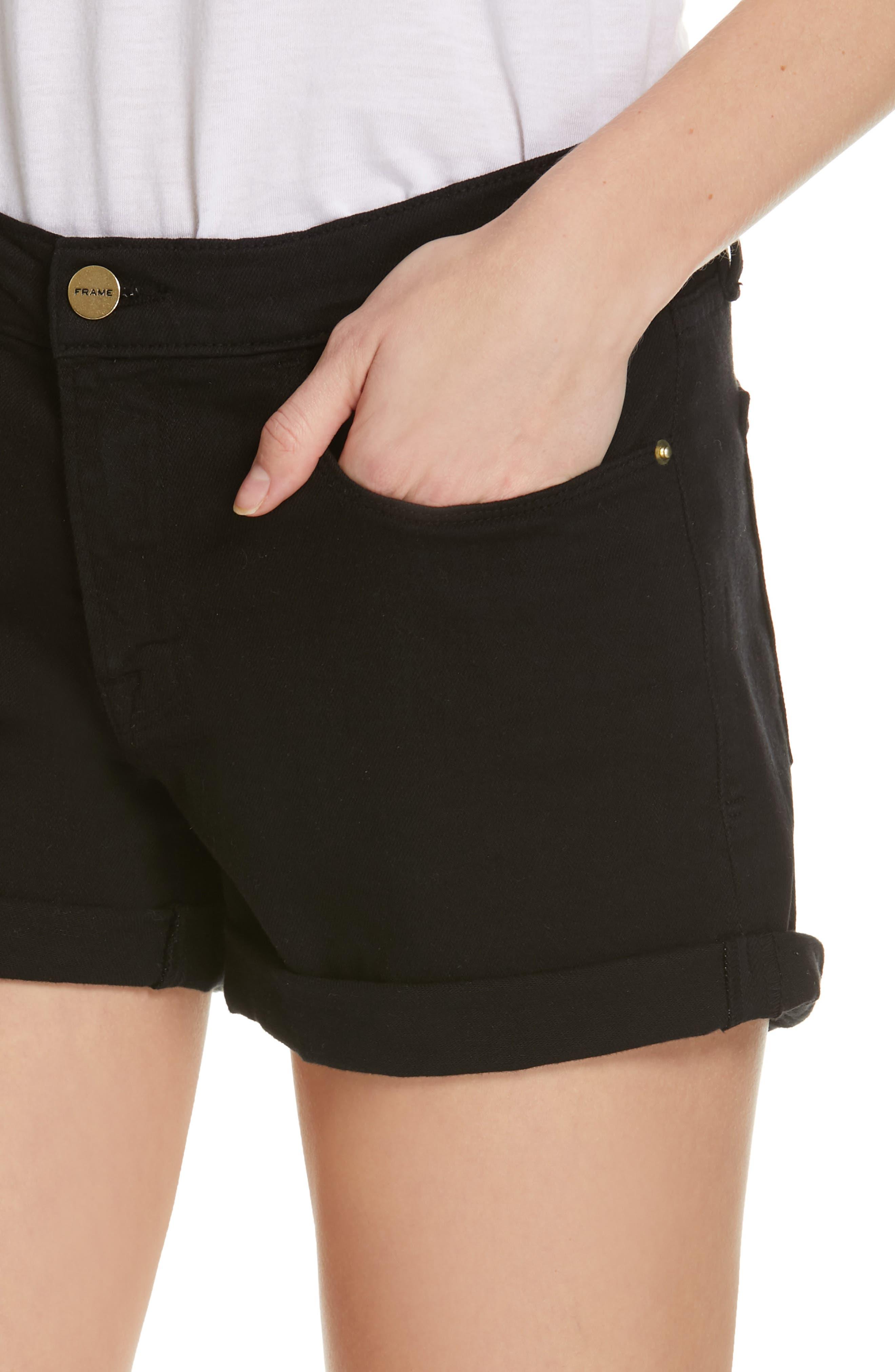 FRAME, Le Cutoff Cuffed Jean Shorts, Alternate thumbnail 5, color, NOIR