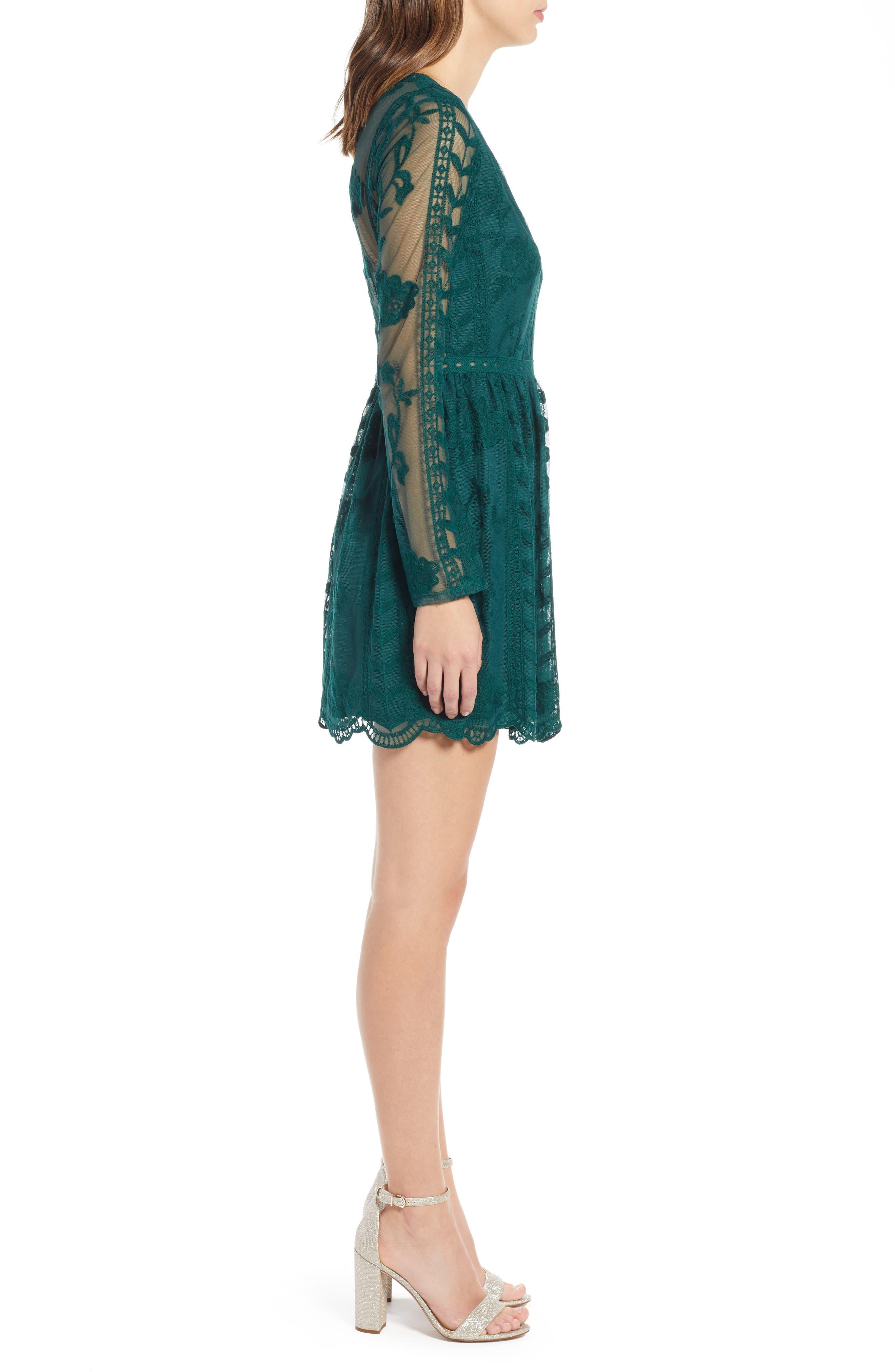 SOCIALITE, Long Sleeve V-Neck Lace Dress, Alternate thumbnail 4, color, 300