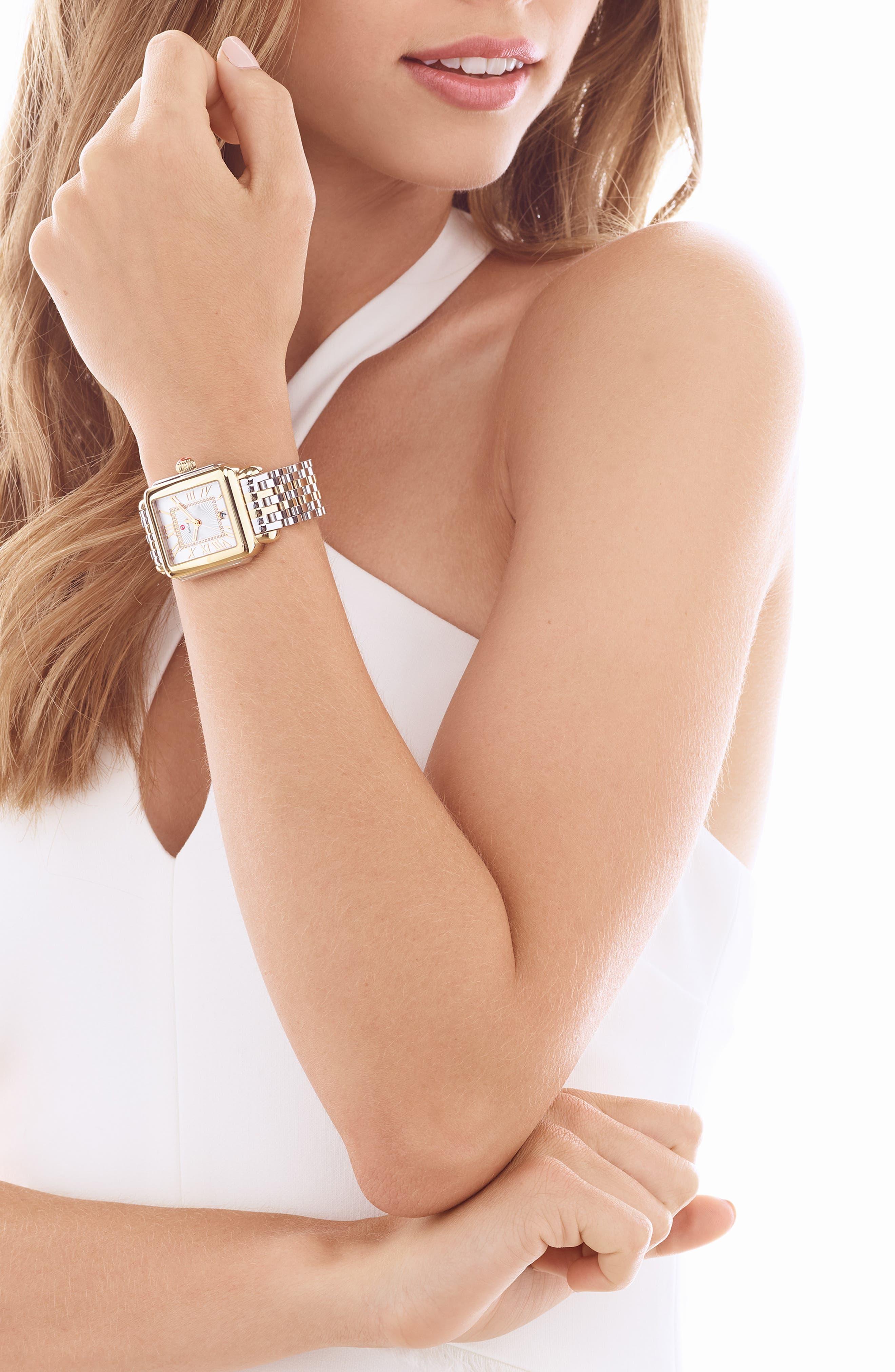 MICHELE, Deco 18mm Two-Tone Bracelet Watchband, Alternate thumbnail 10, color, SILVER/ GOLD
