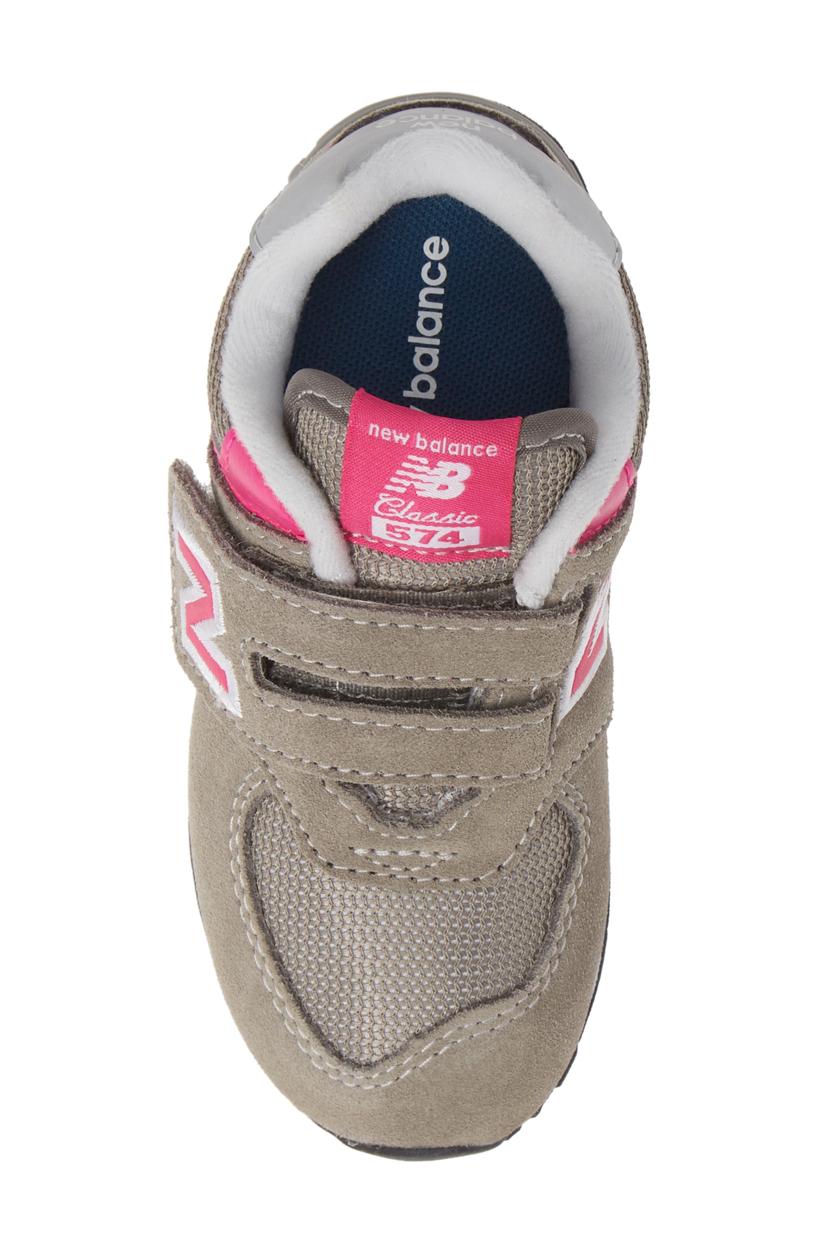 NEW BALANCE, '574 Core' Sneaker, Alternate thumbnail 5, color, GREY/ PINK