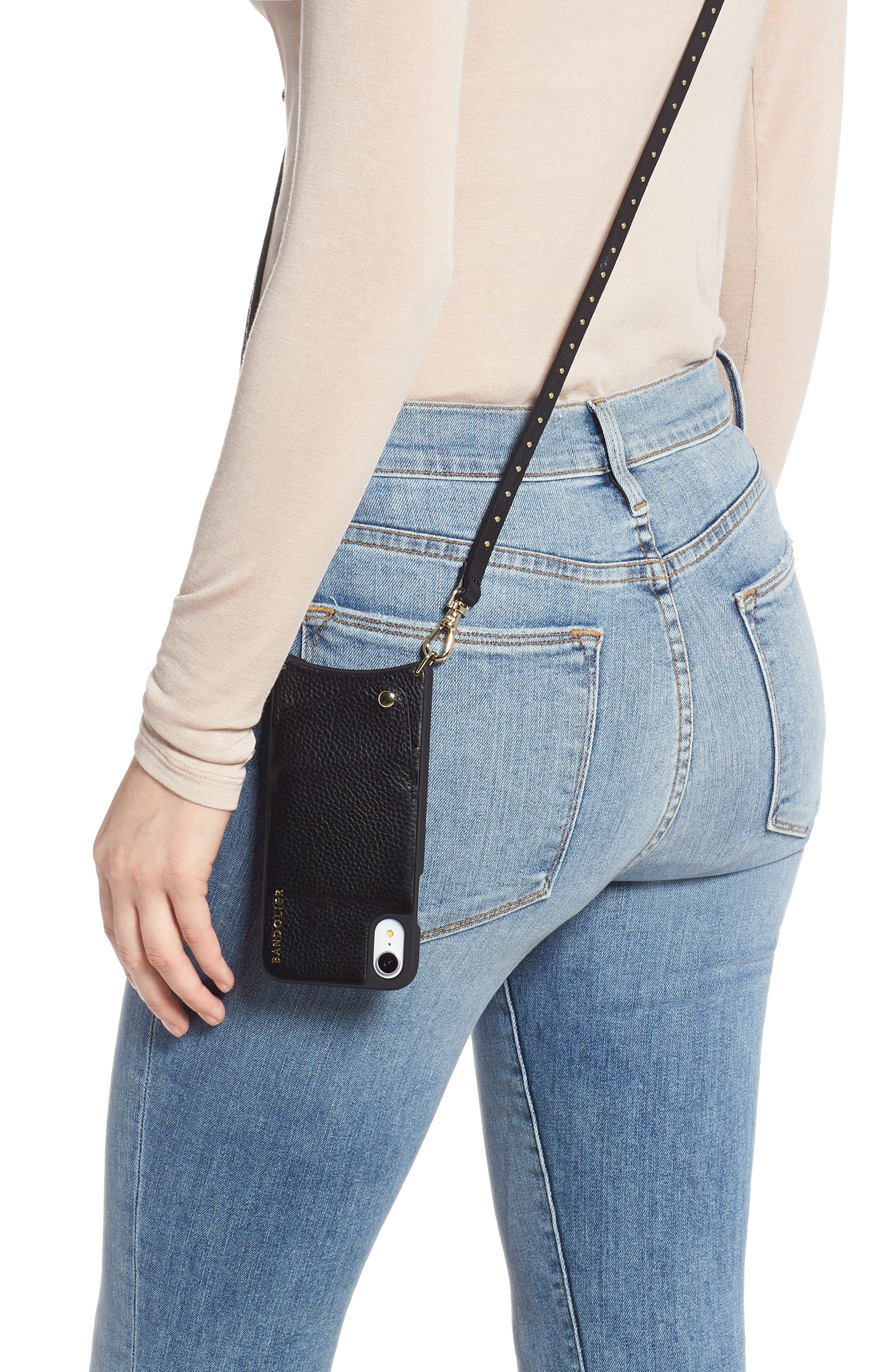 BANDOLIER, Nicole Pebbled Leather X/Xs/Xs Max & XR Crossbody Case, Alternate thumbnail 2, color, BLACK/ GOLD