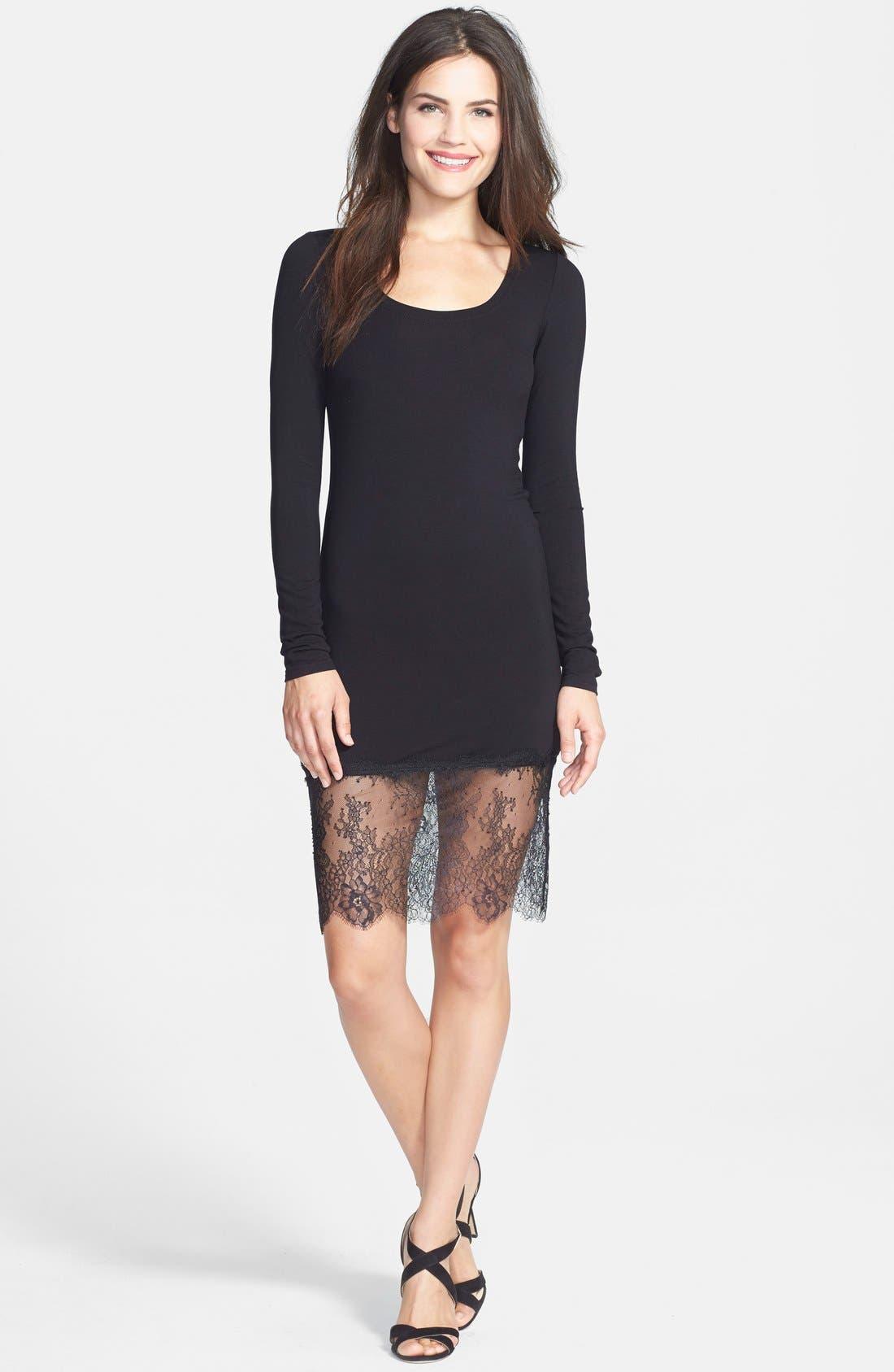 BCBGMAXAZRIA, 'Livi' Lace & Jersey Knit Sheath Dress, Alternate thumbnail 4, color, 001