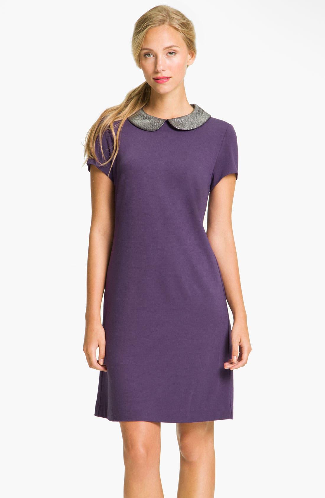 DONNA MORGAN Metallic Peter Pan Collar Shift Dress, Main, color, 500