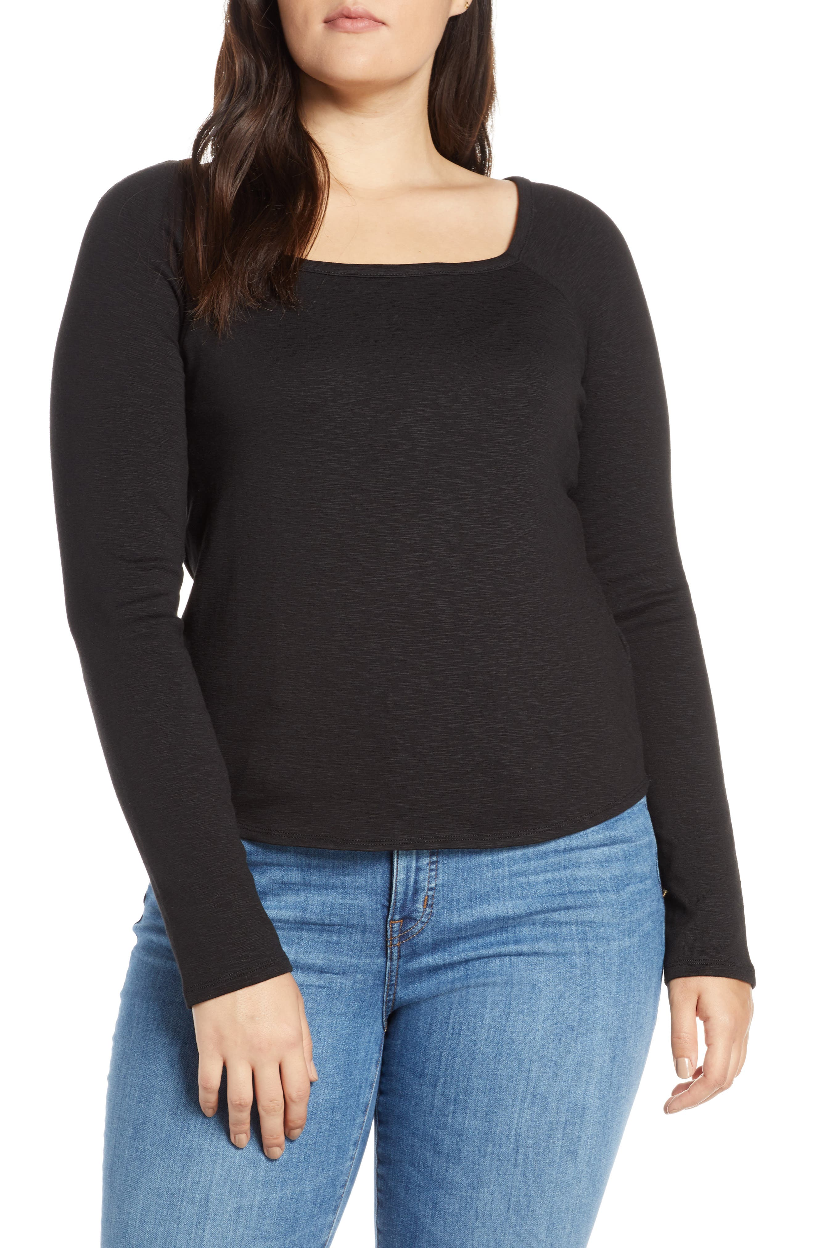 MADEWELL, Square Neck Long Sleeve Tee, Alternate thumbnail 2, color, TRUE BLACK