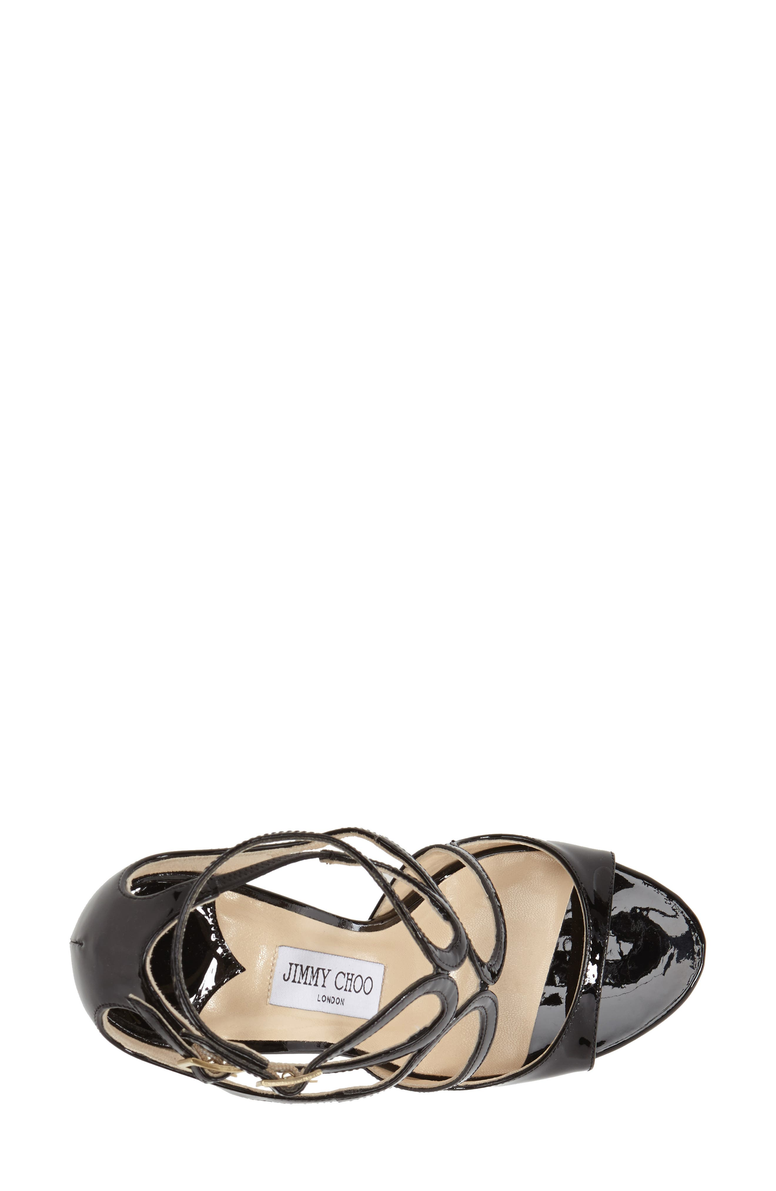 JIMMY CHOO, 'Lang' Sandal, Alternate thumbnail 2, color, BLACK PATENT