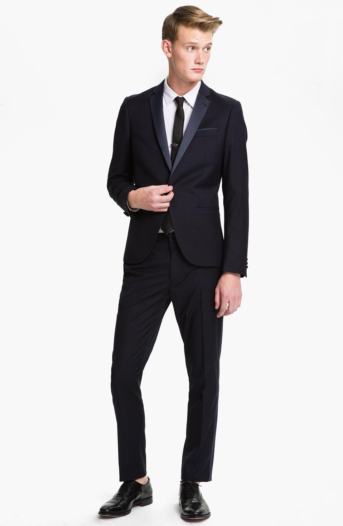 TOPMAN, Skinny Fit Single-Button Tuxedo Jacket, Alternate thumbnail 2, color, 410