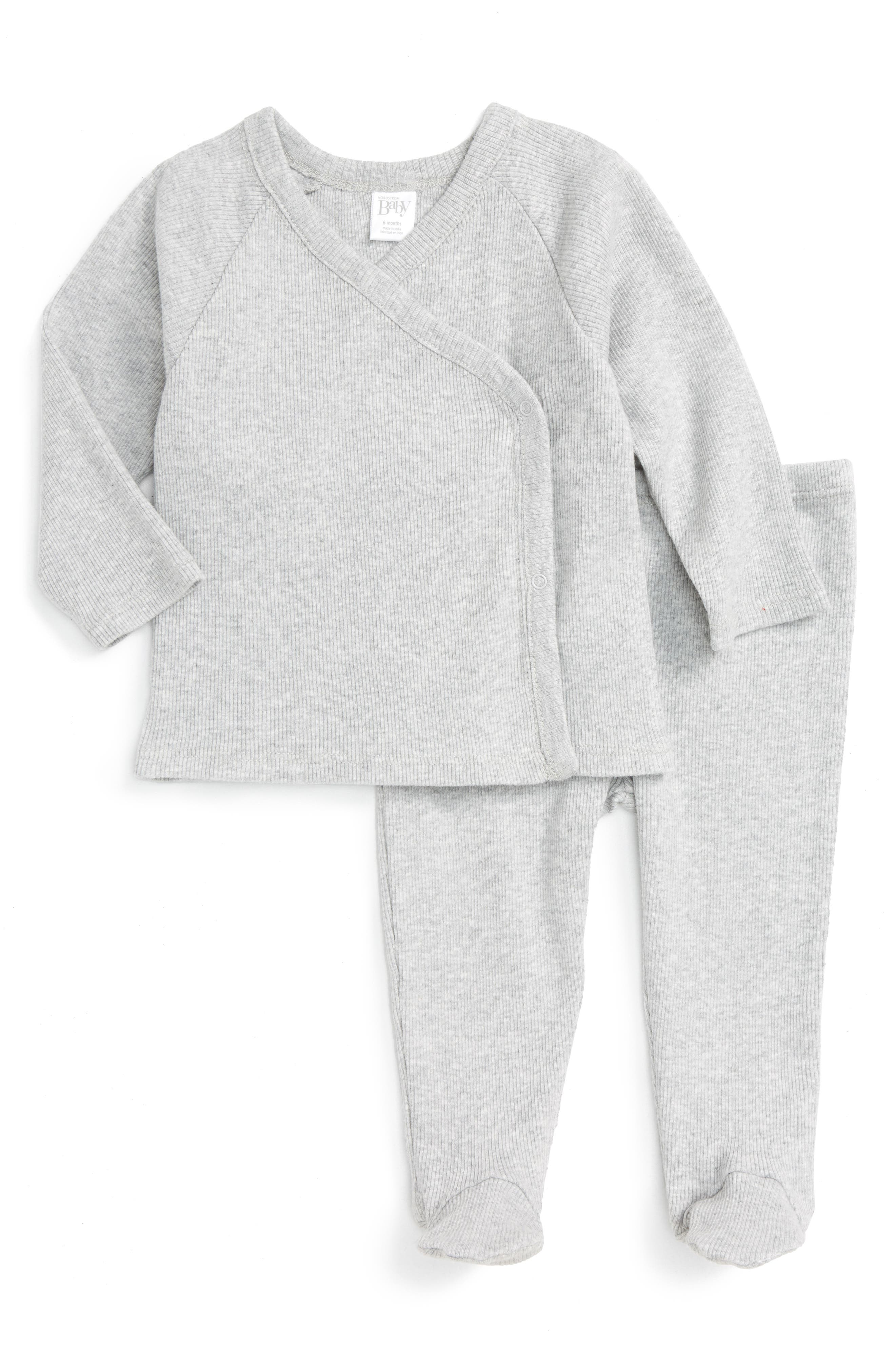 NORDSTROM BABY, Rib Knit T-Shirt & Pants Set, Main thumbnail 1, color, GREY ASH HEATHER