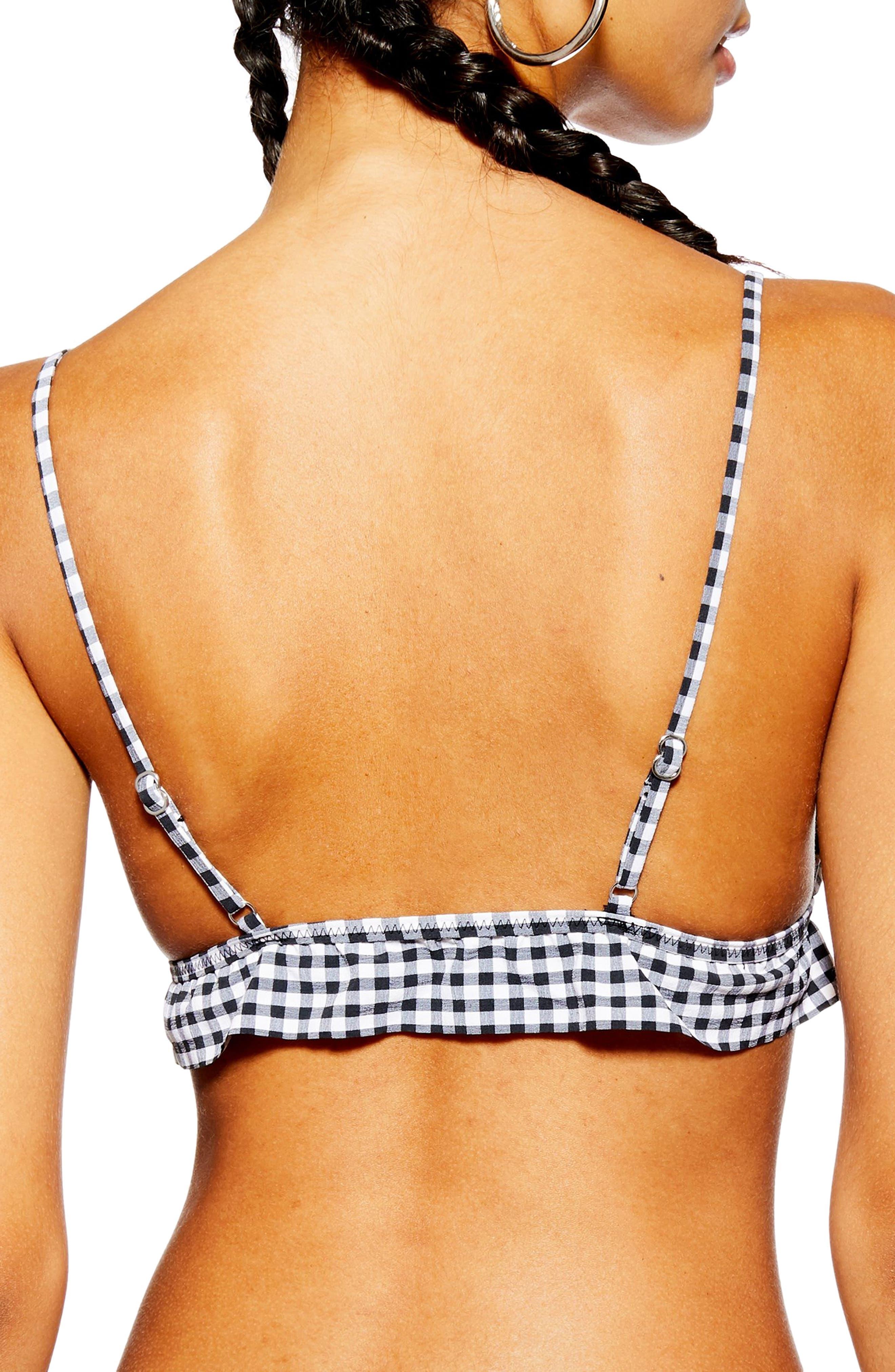 TOPSHOP, Gingham Tie Bikini Top, Alternate thumbnail 2, color, BLACK MULTI
