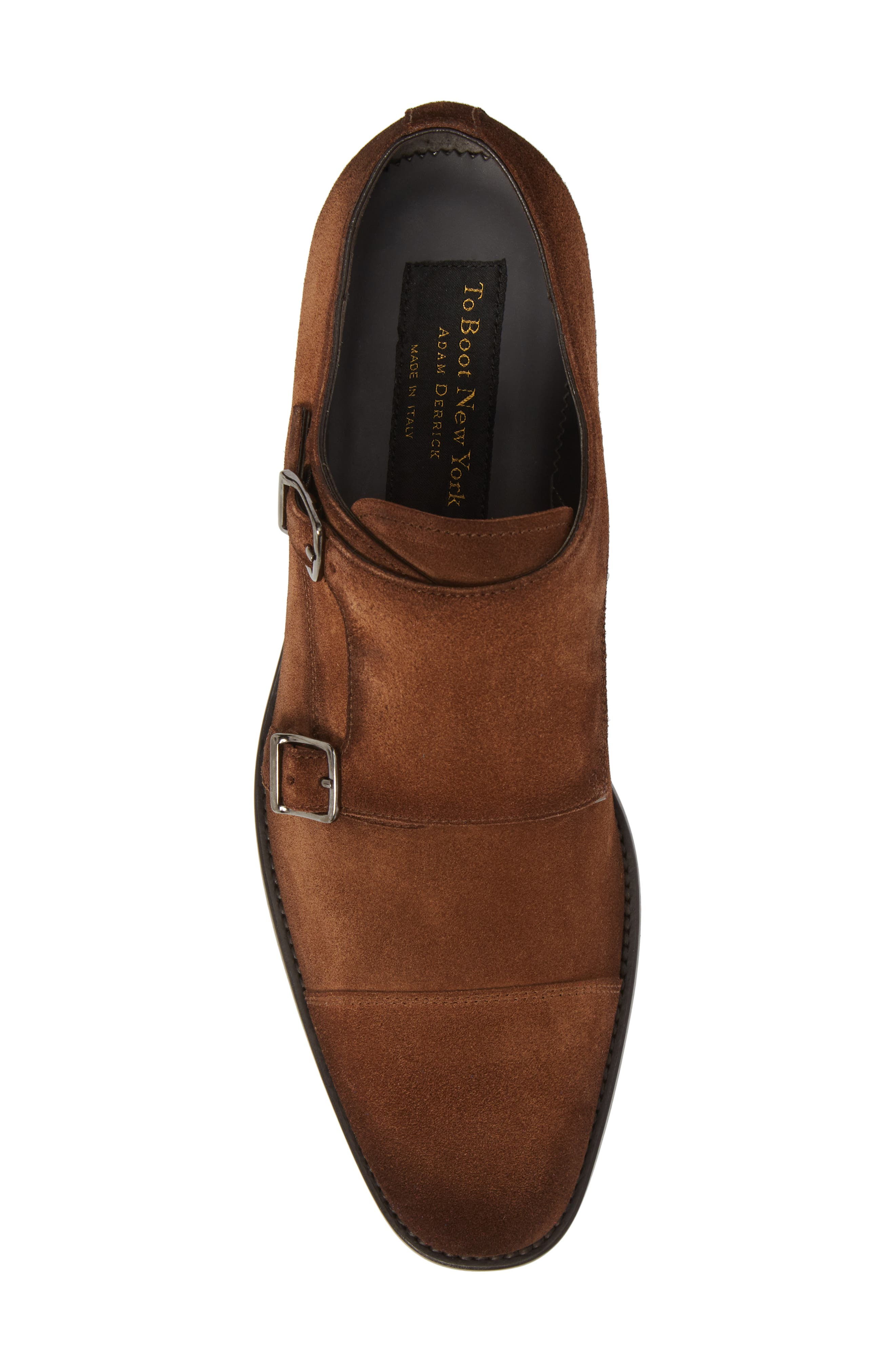 TO BOOT NEW YORK, Quentin Cap Toe Monk Shoe, Alternate thumbnail 5, color, BROWN SUEDE LEATHER