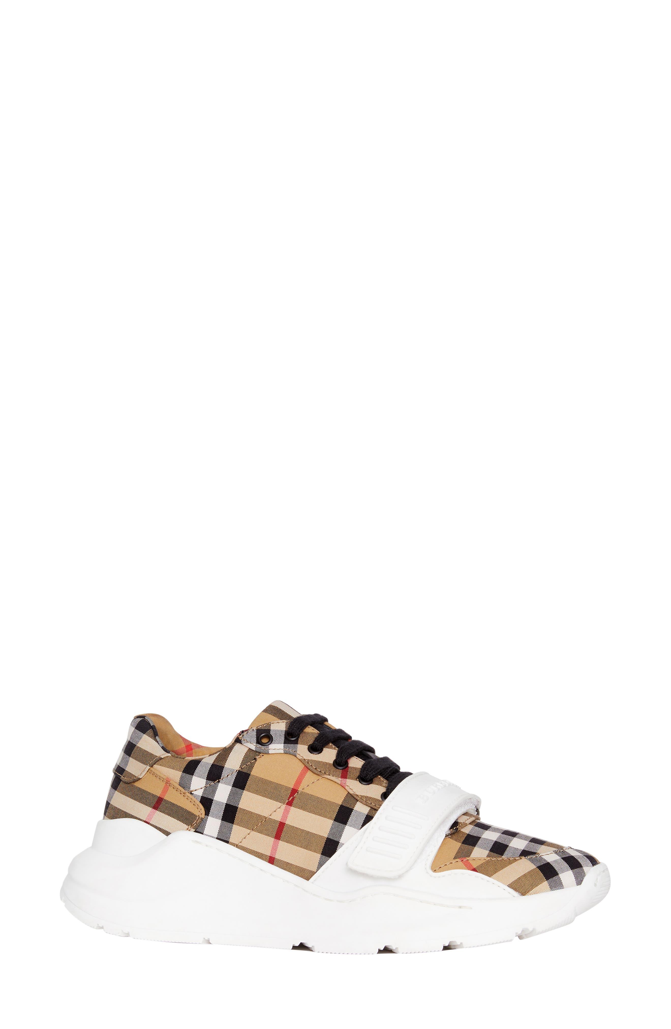 BURBERRY, Regis Check Lace-Up Sneaker, Main thumbnail 1, color, BEIGE PLAID