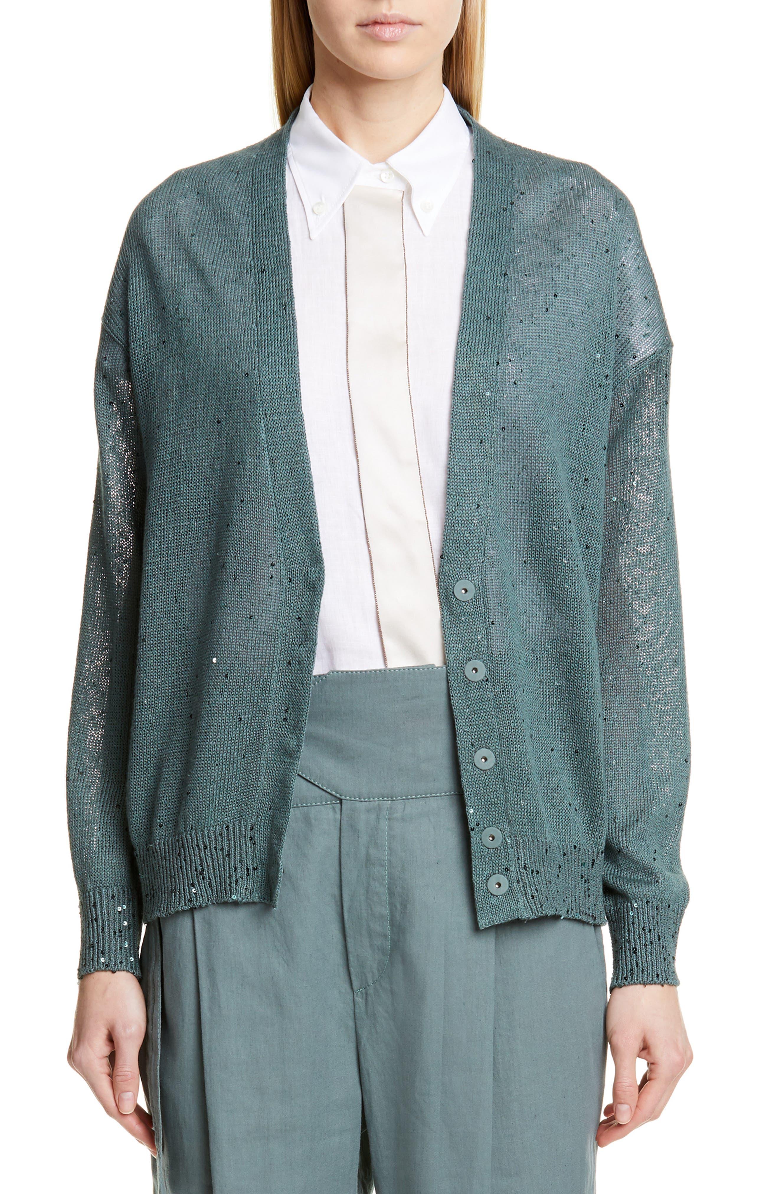 BRUNELLO CUCINELLI, Sequin Linen & Silk Cardigan, Main thumbnail 1, color, SAGE