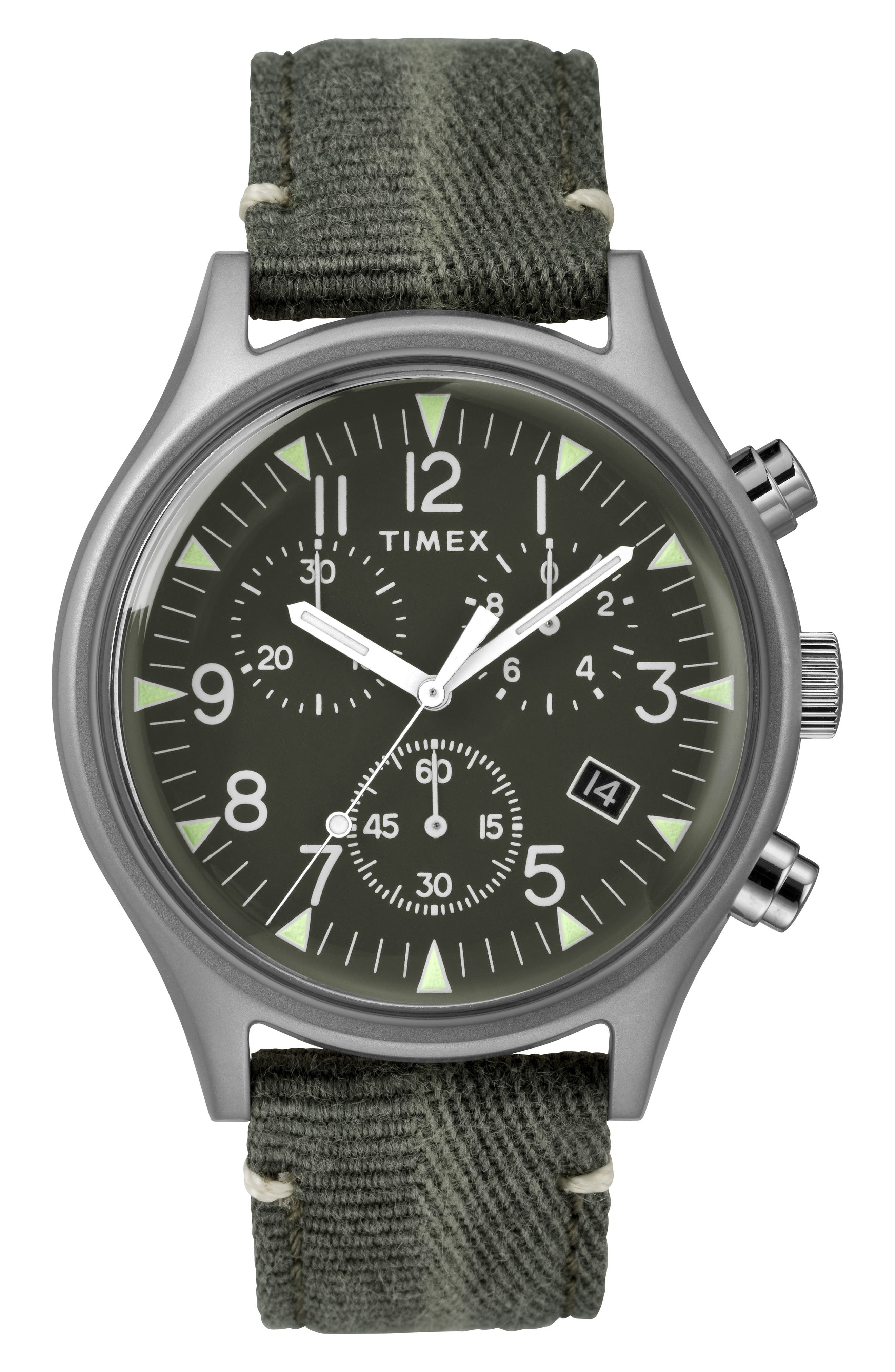 TIMEX<SUP>®</SUP>, MK1 Chronograph Fabric Strap Watch, 42mm, Main thumbnail 1, color, OLIVE/ SILVER