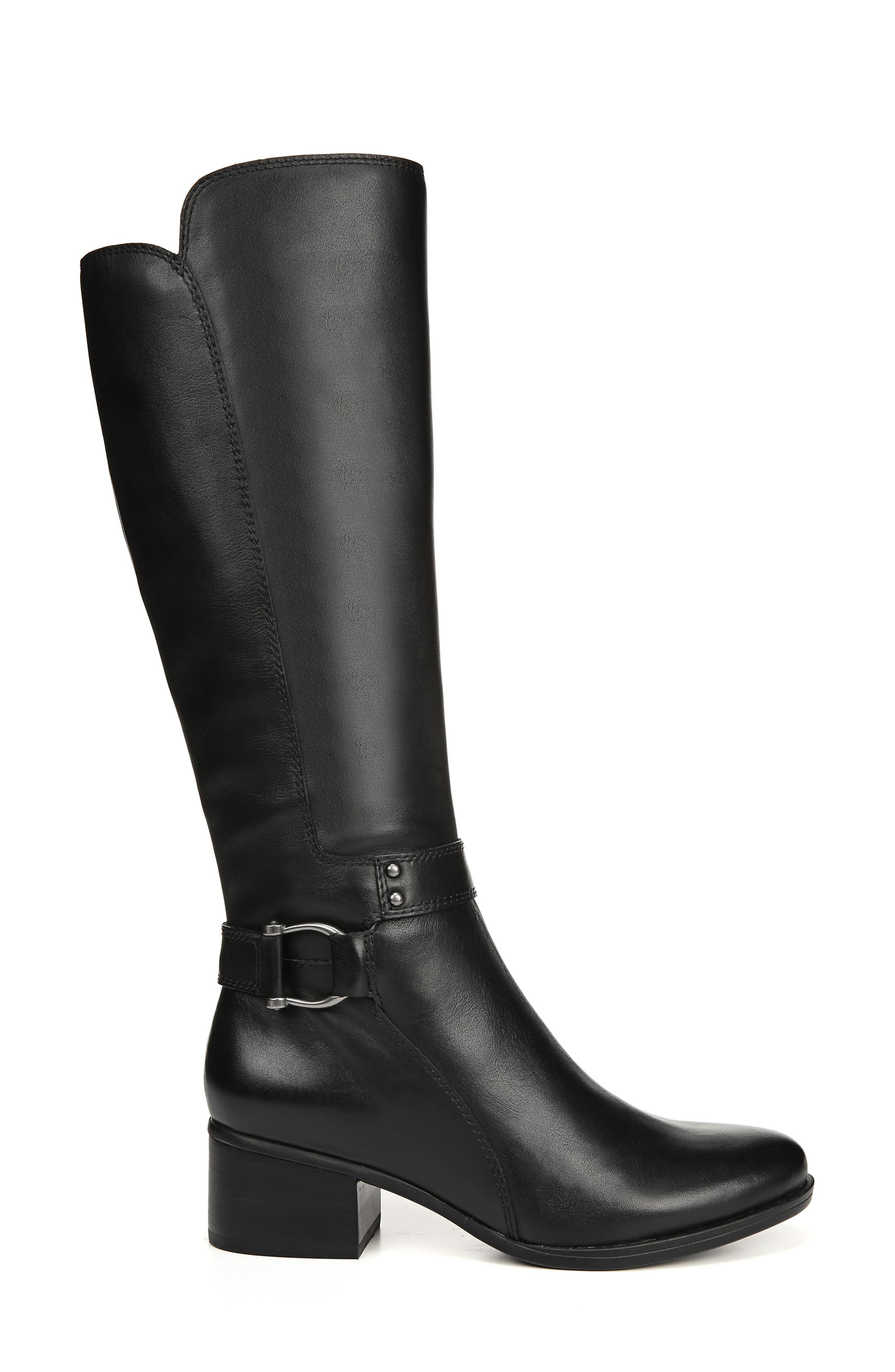 NATURALIZER, Dane Knee High Riding Boot, Alternate thumbnail 3, color, BLACK LEATHER
