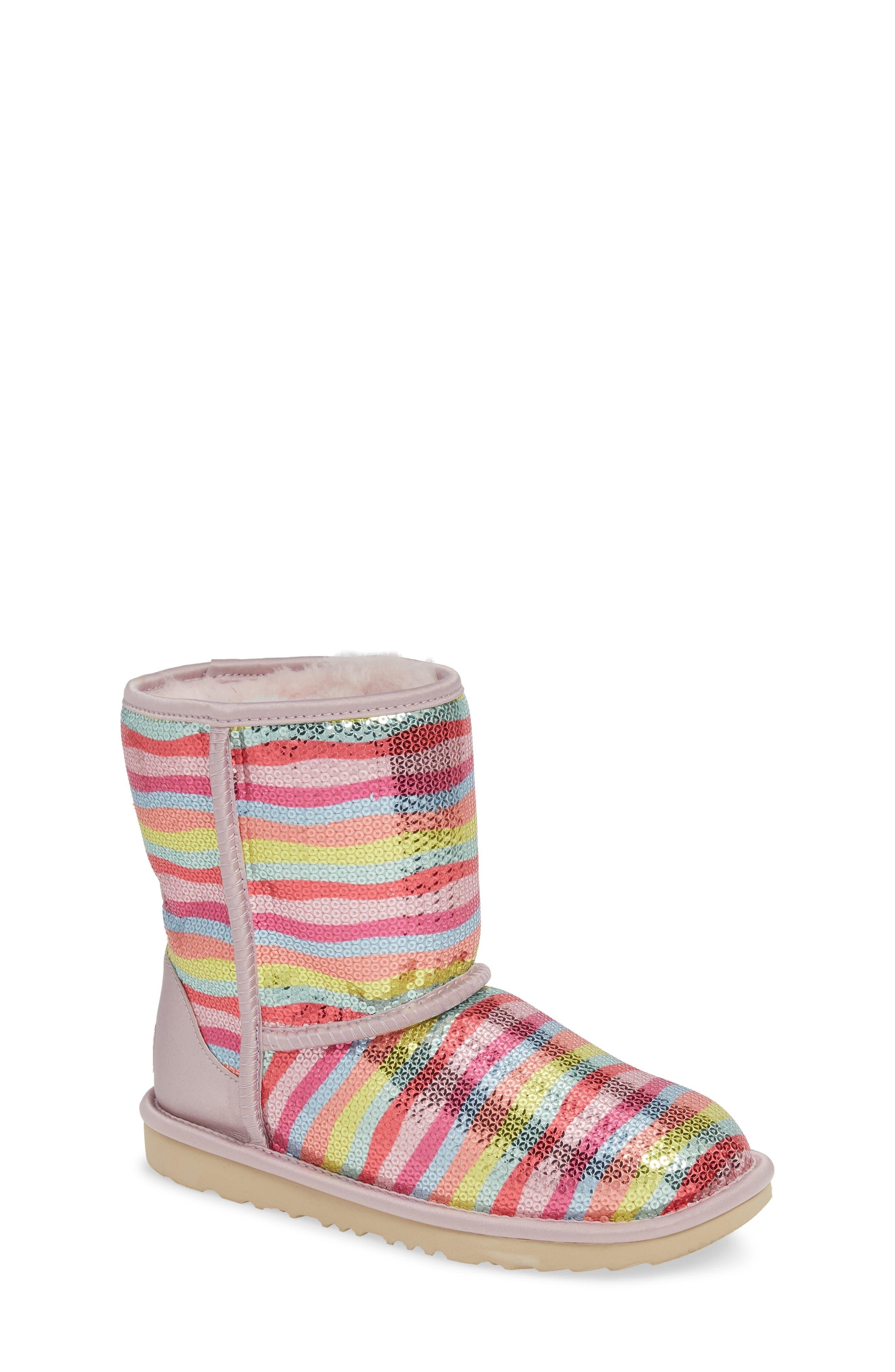 UGG<SUP>®</SUP>, Rainbow Classic Short II Sequin Stripe Boot, Main thumbnail 1, color, RAINBOW MULTI