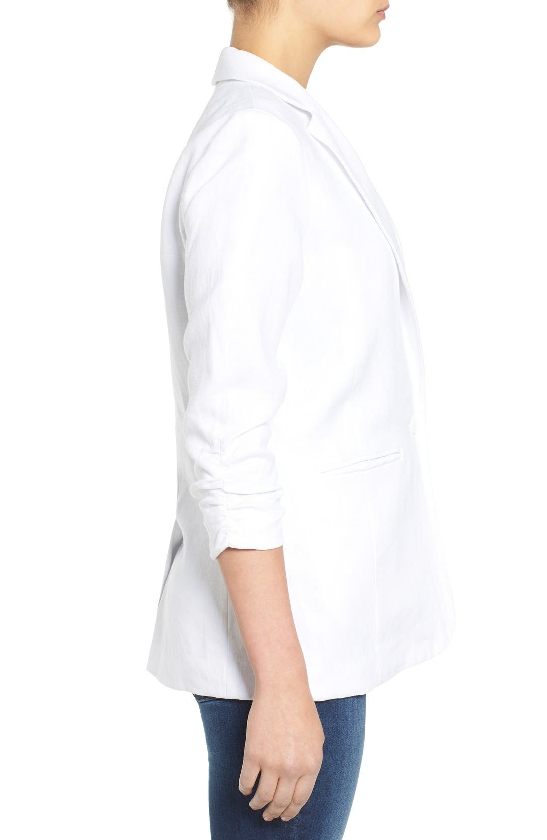MICHAEL MICHAEL KORS, Linen Shirred Sleeve Boyfriend Jacket, Alternate thumbnail 4, color, 100