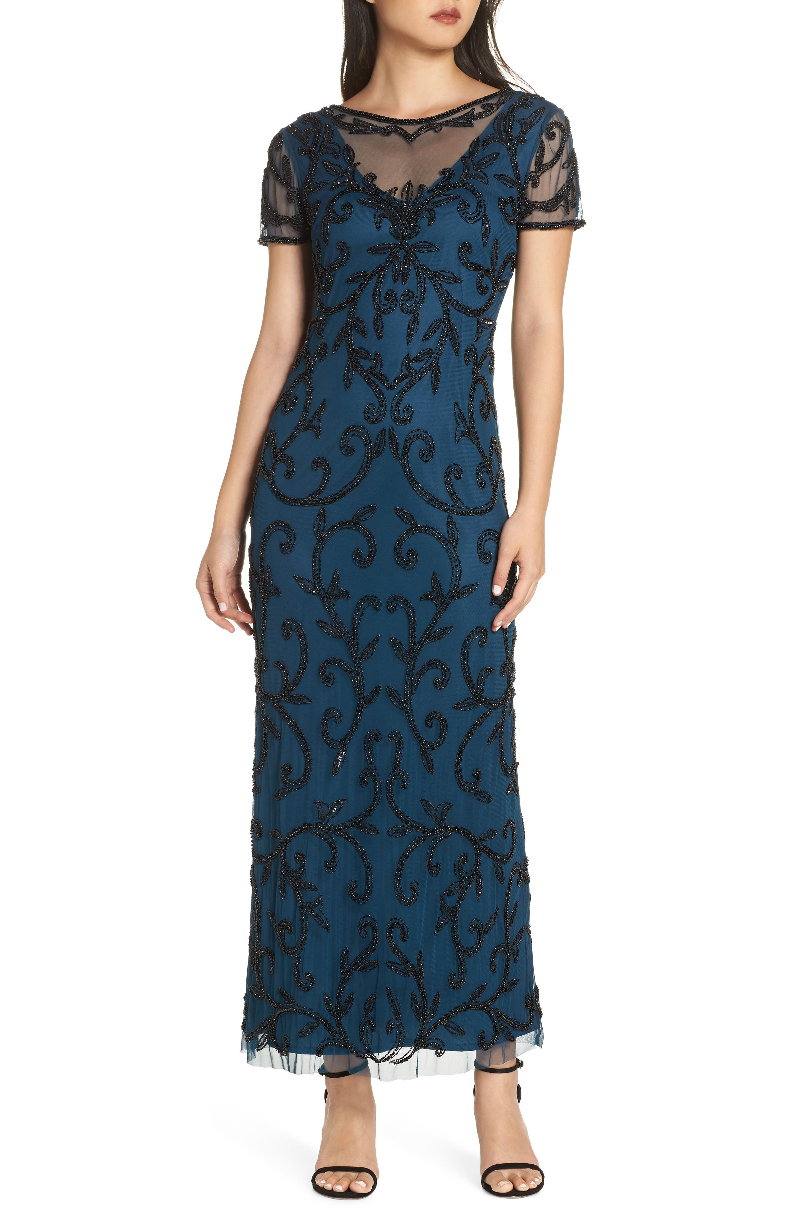 PISARRO NIGHTS Beaded Illusion Gown, Main, color, PEACOCK