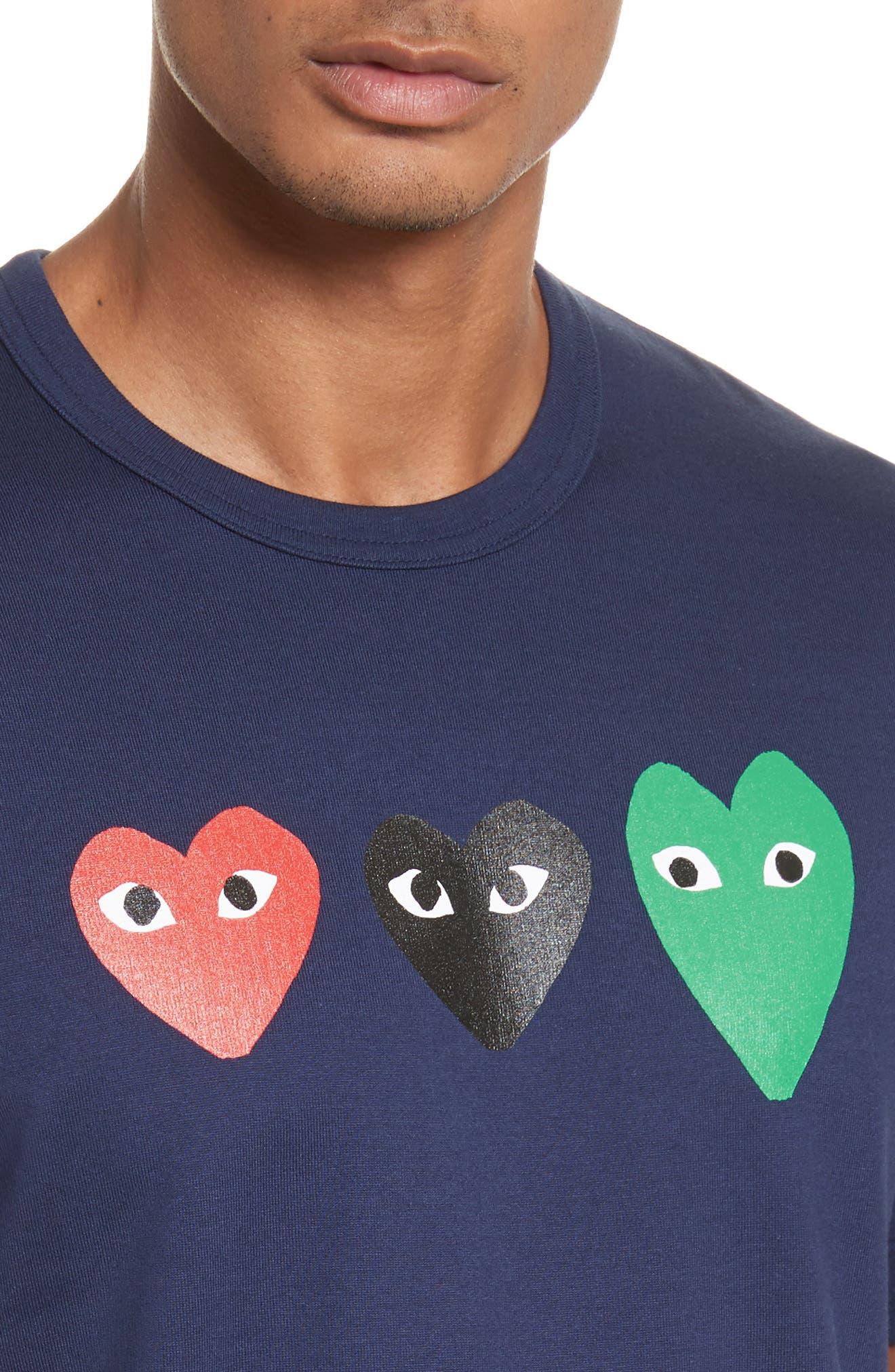 COMME DES GARÇONS PLAY, Graphic T-Shirt, Alternate thumbnail 4, color, 410