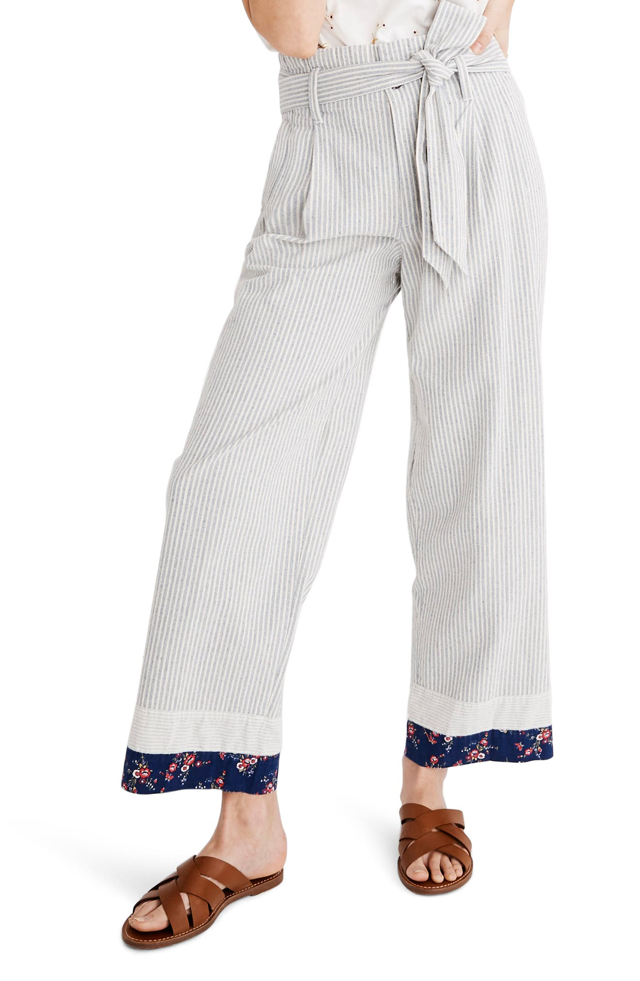 MADEWELL, x The New Denim Project<sup>®</sup> Patchwork Paperbag Pants, Main thumbnail 1, color, BLUE RAILROAD STRIPE