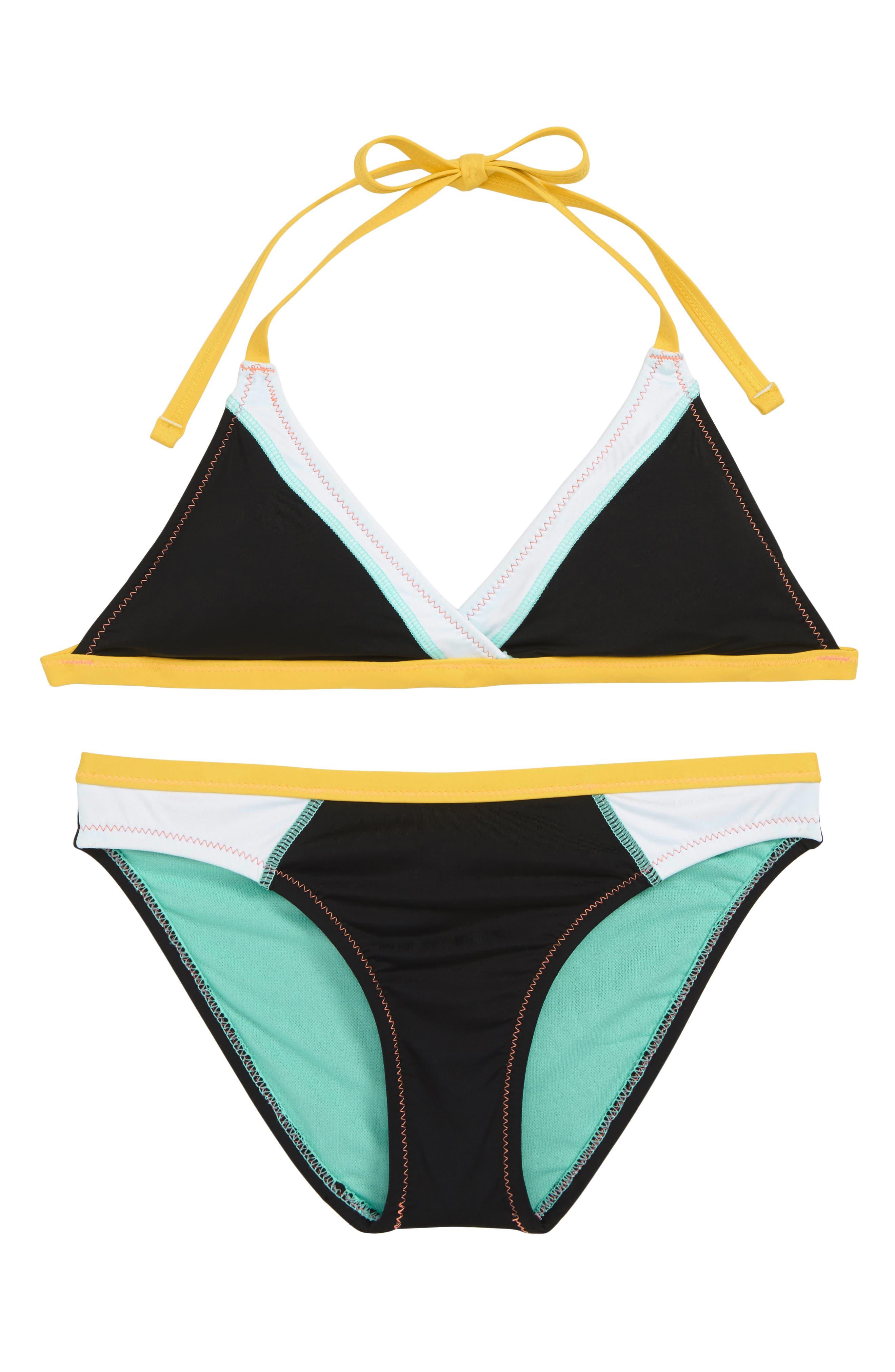 HOBIE Stitch Perfect Two-Piece Swimsuit, Main, color, BLACK
