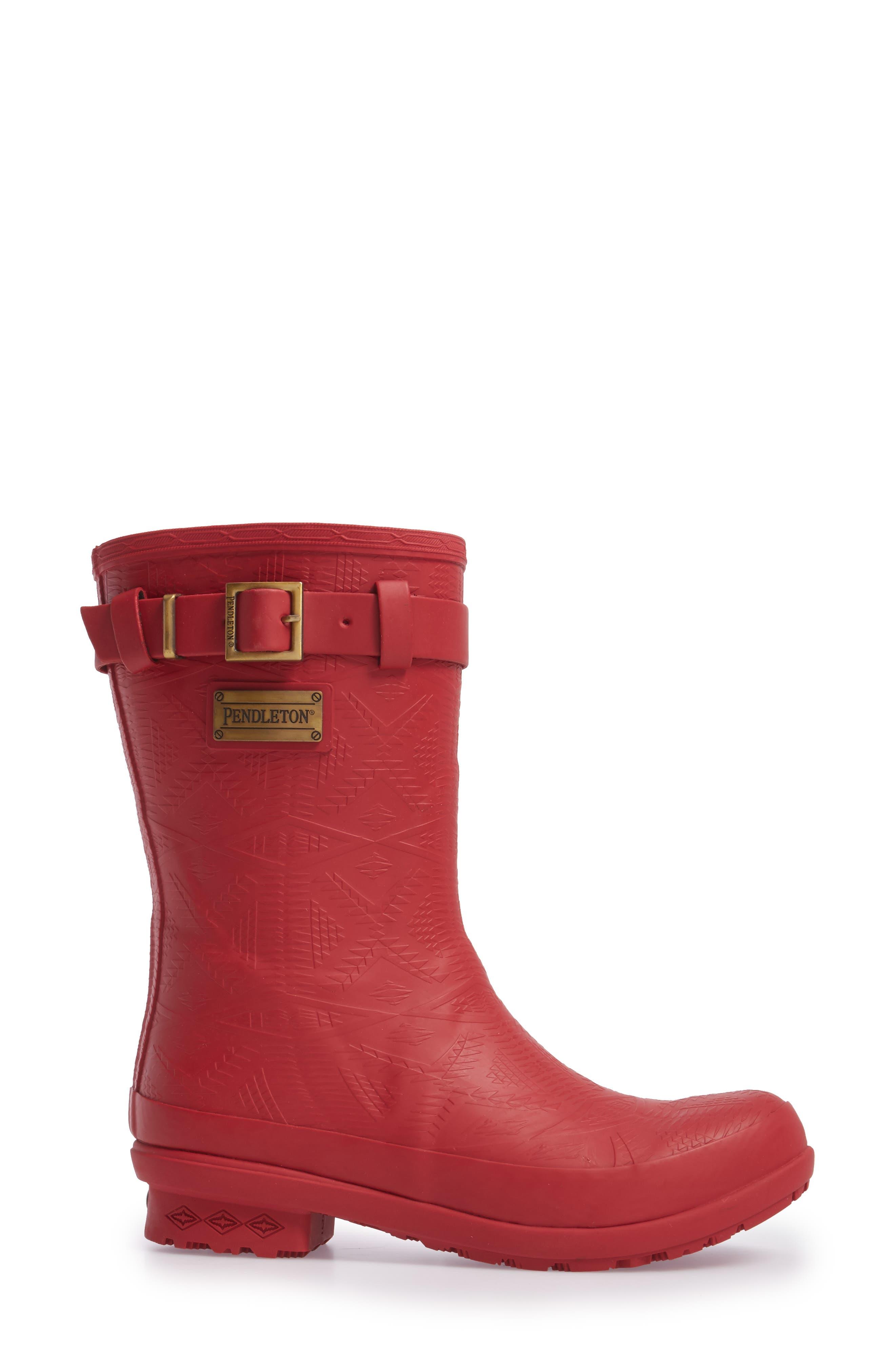 PENDLETON, Embossed Short Waterproof Rain Boot, Alternate thumbnail 3, color, SCARLET