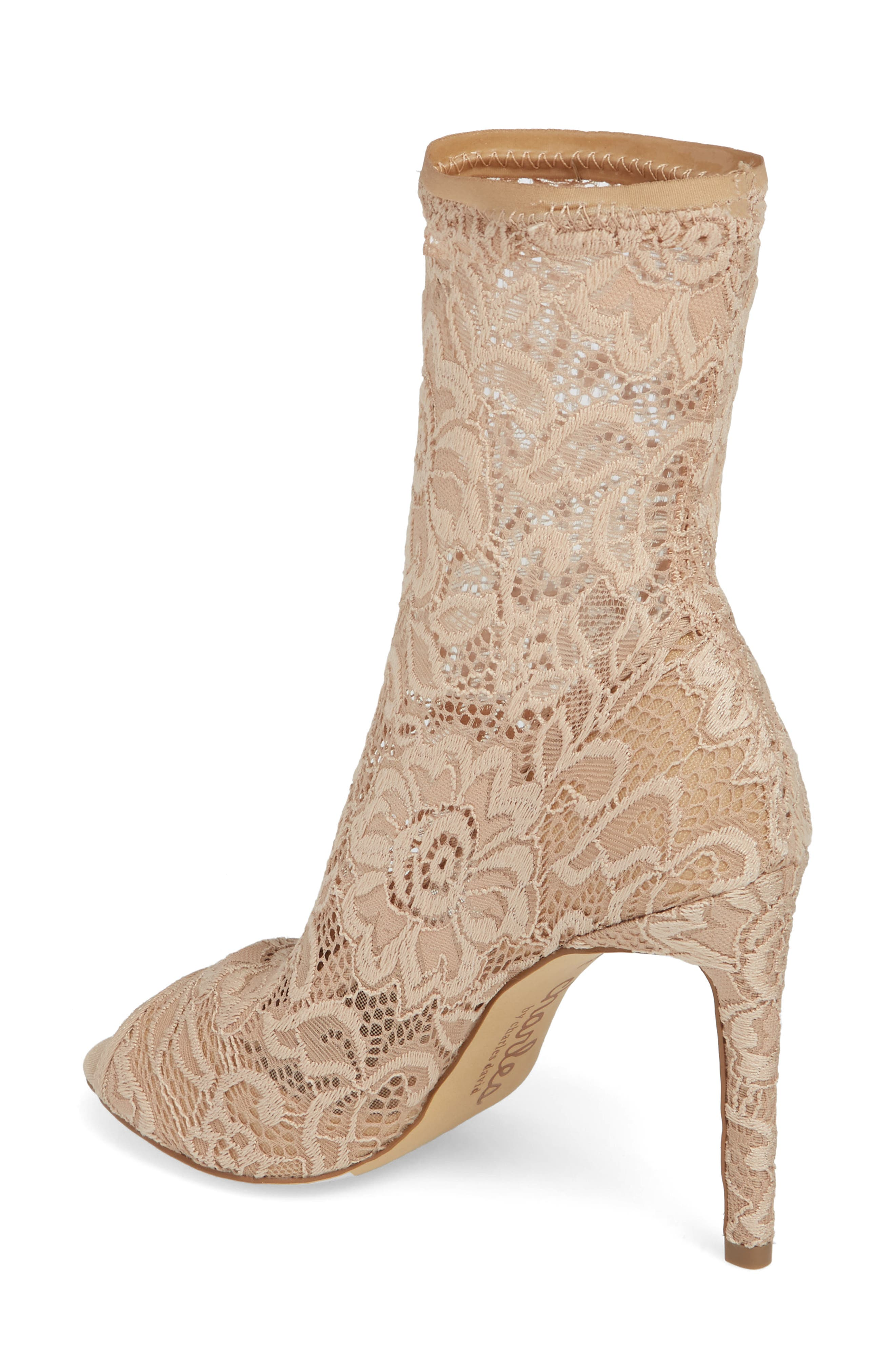 CHARLES BY CHARLES DAVID, Imaginary Lace Sock Bootie, Alternate thumbnail 2, color, NUDE FABRIC