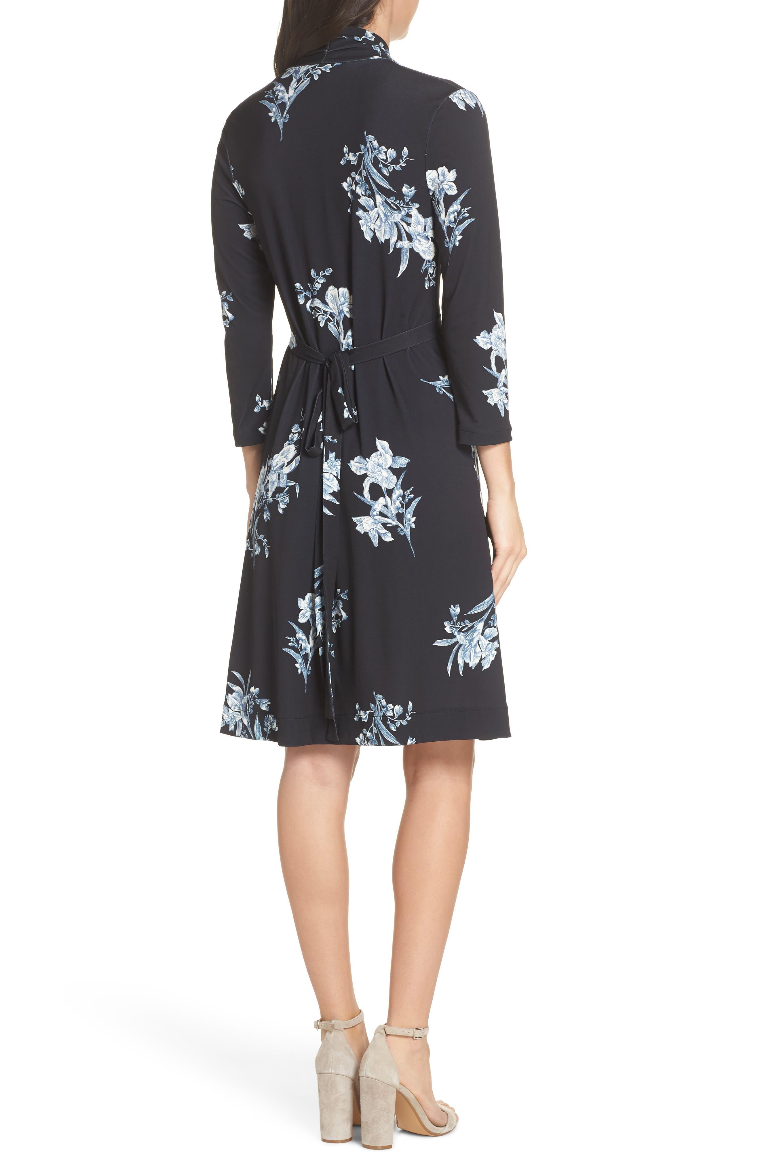 FRENCH CONNECTION, Laila Floral Print Dress, Alternate thumbnail 2, color, BLACK MULTI