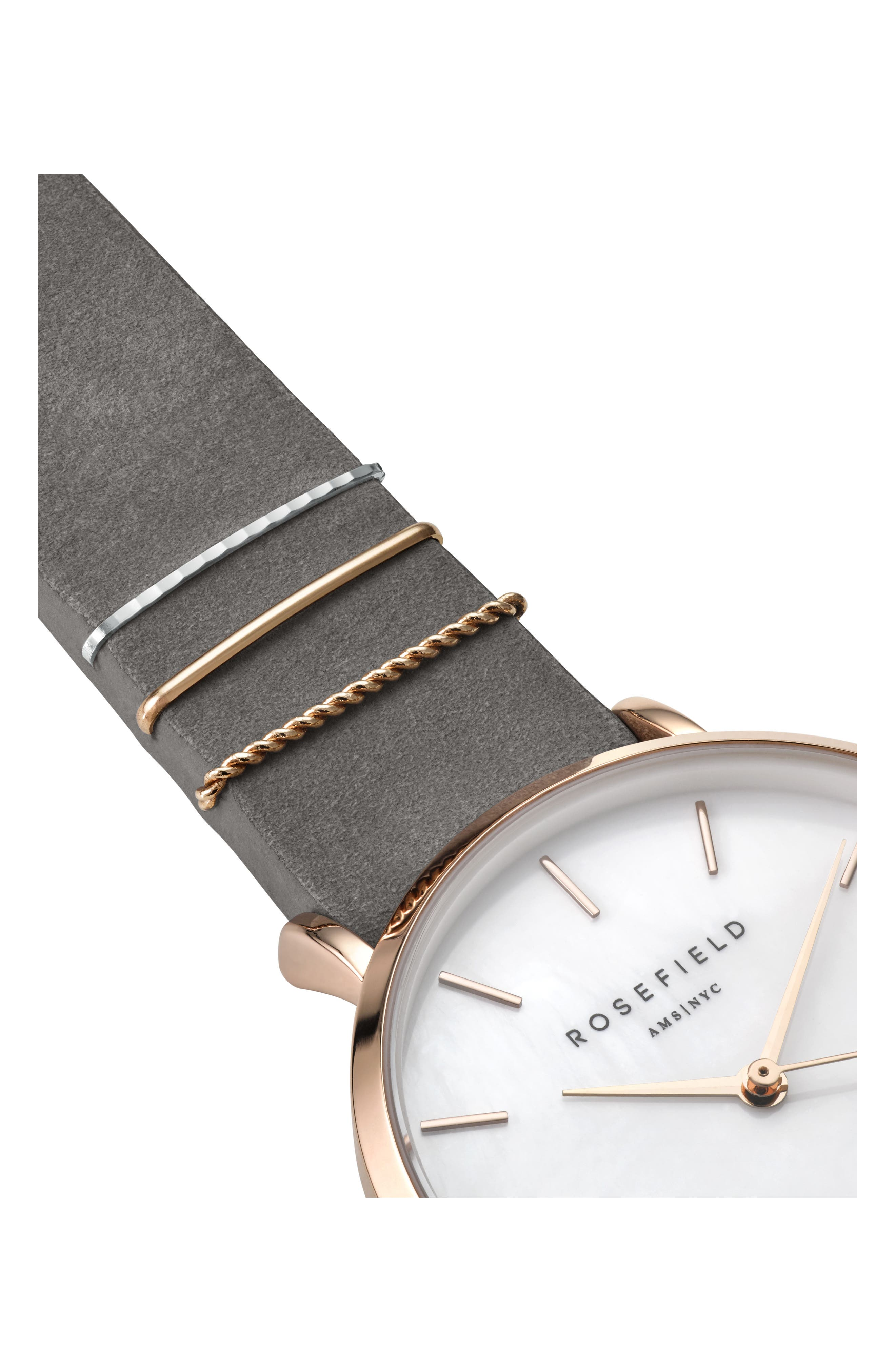 ROSEFIELD, West Village Leather Strap Watch, 33mm, Alternate thumbnail 3, color, GREY/ WHITE PEARL/ ROSE GOLD