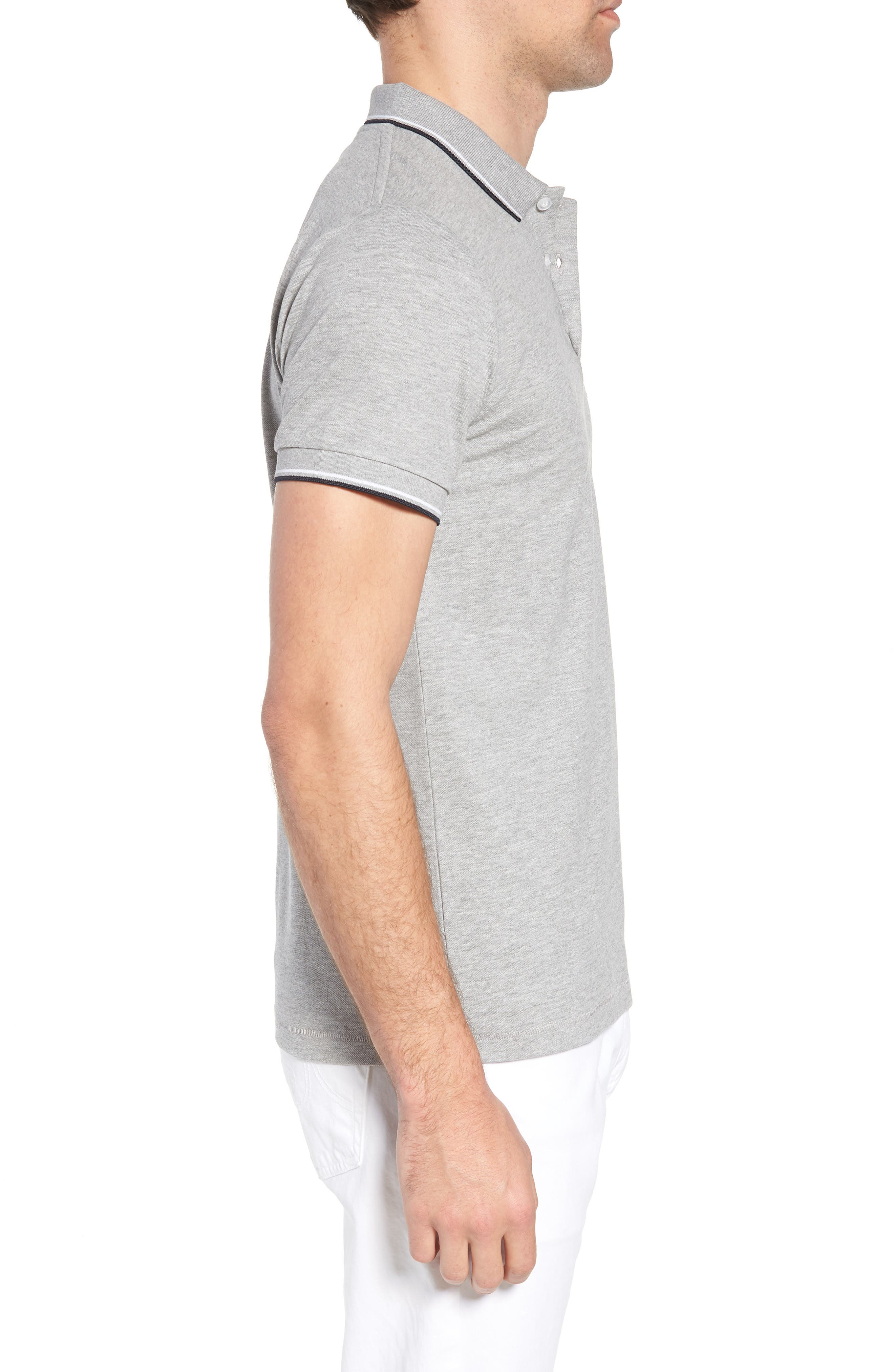 FRENCH CONNECTION, Cotton Polo Shirt, Alternate thumbnail 3, color, GREY MELANGE