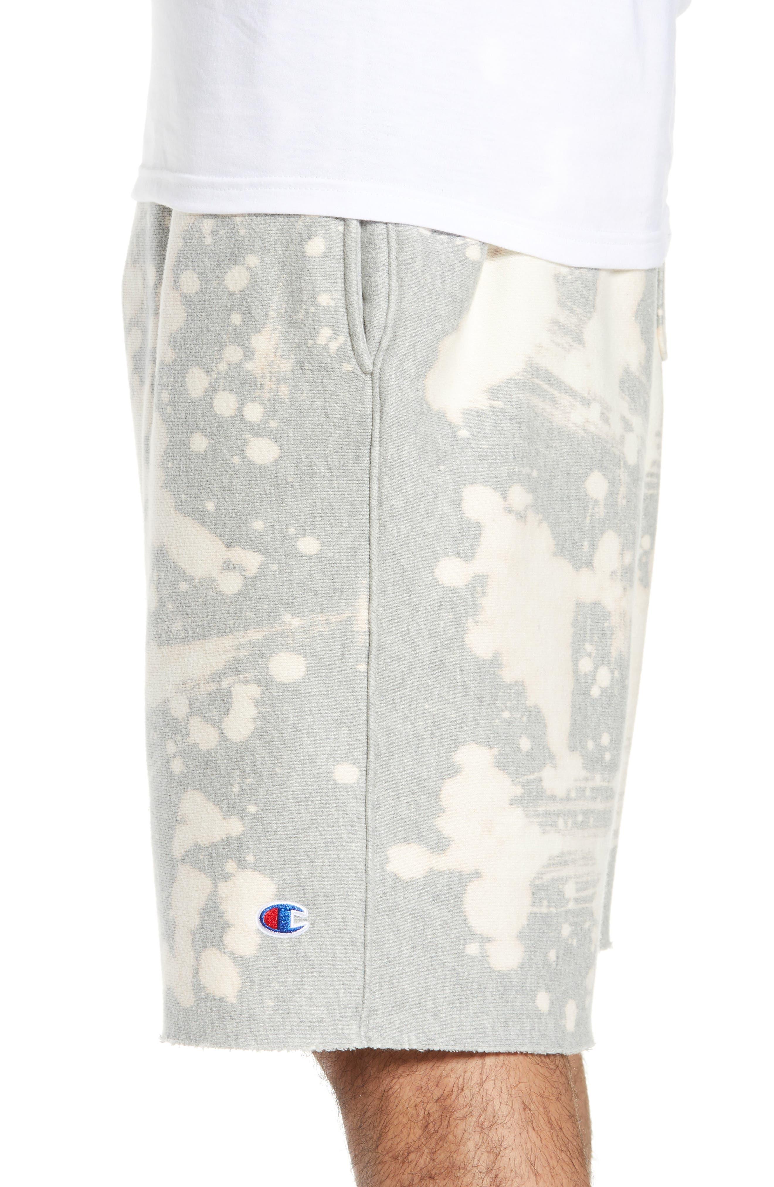 CHAMPION, Bleach Splatter Crewneck Athletic Shorts, Alternate thumbnail 4, color, OXFORD GREY