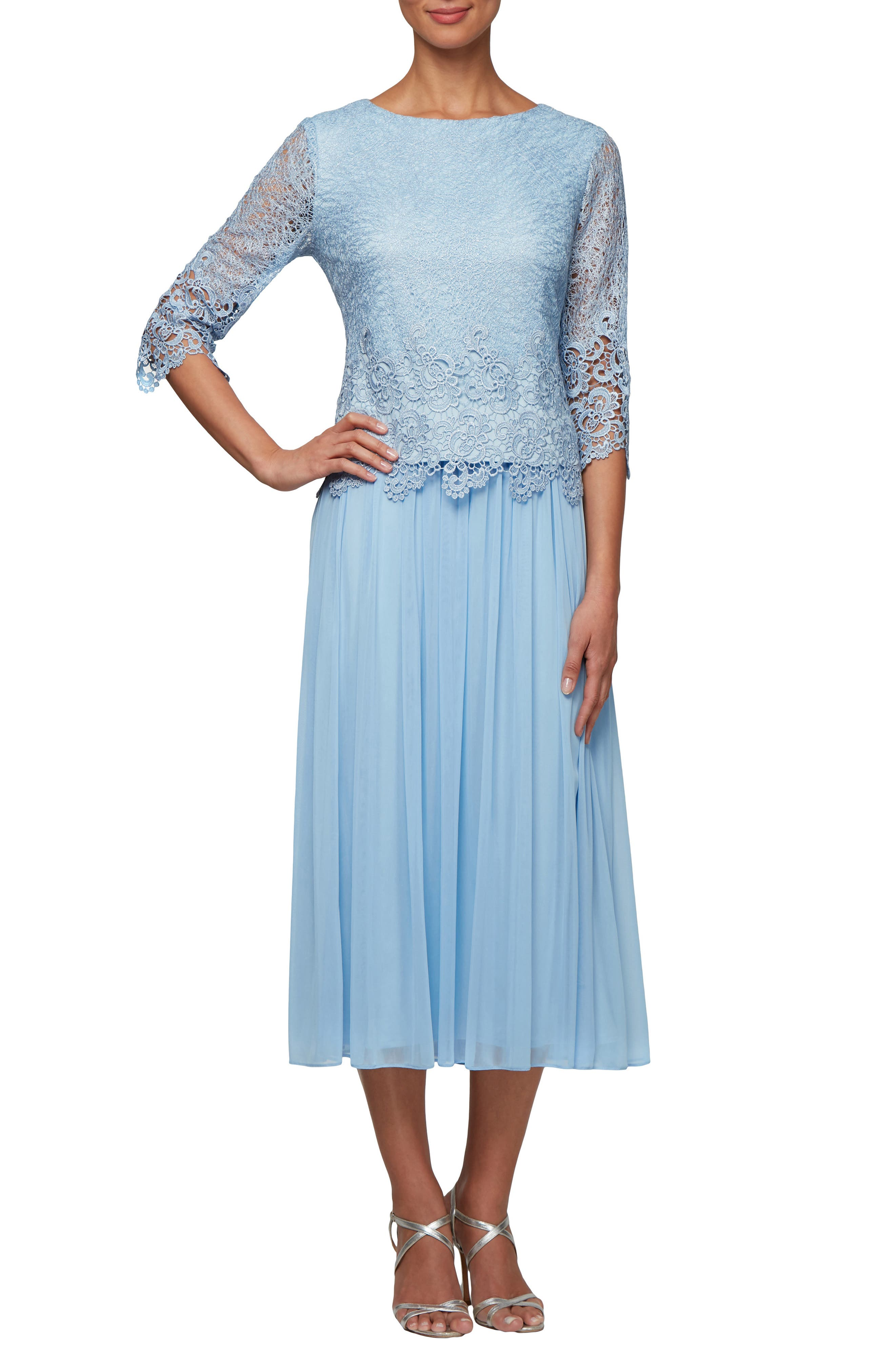 Petite Alex Evenings Lace & Tulle Popover Dress, Blue