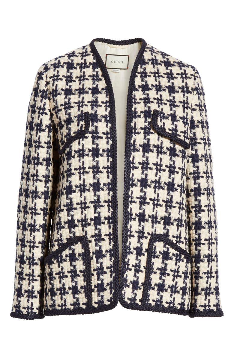 8af7ccc5562907 Gucci Houndstooth Tweed Wool-Blend Jacket In Blue | ModeSens