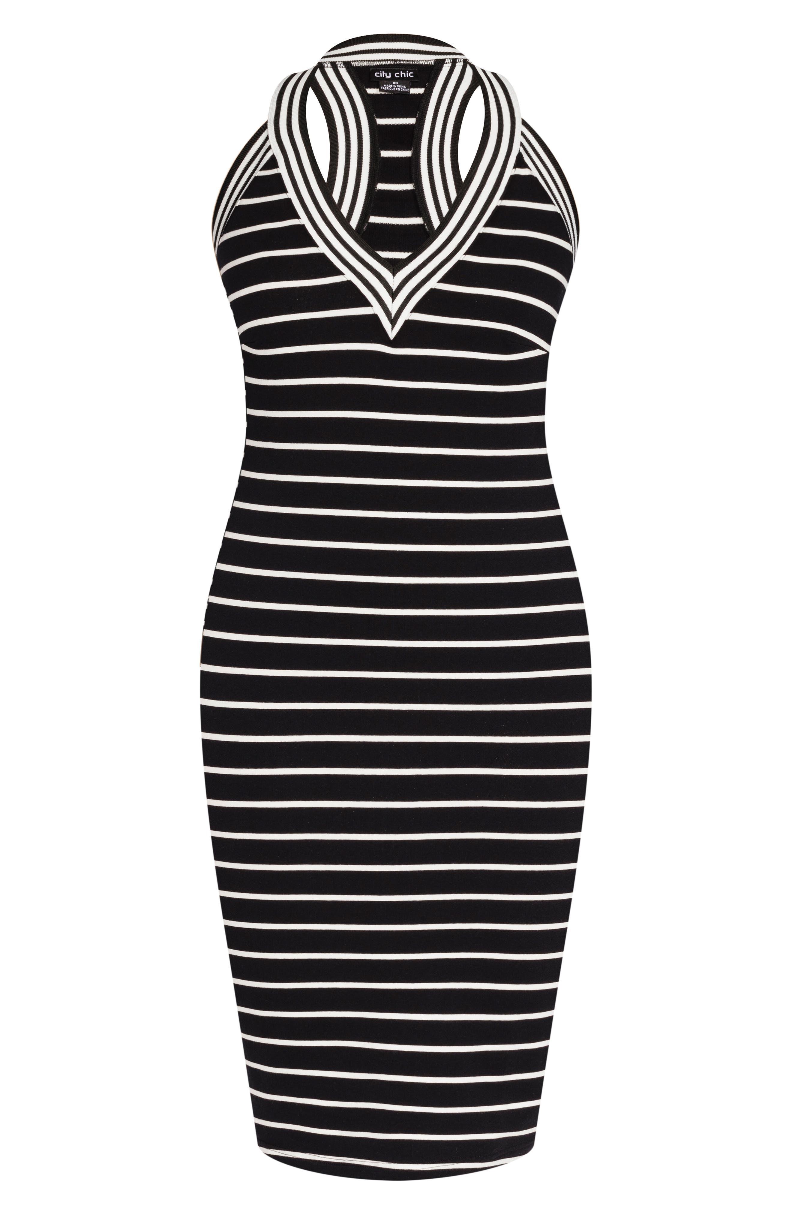 CITY CHIC, Stripe Racerback Dress, Alternate thumbnail 3, color, WHITE STRIPE