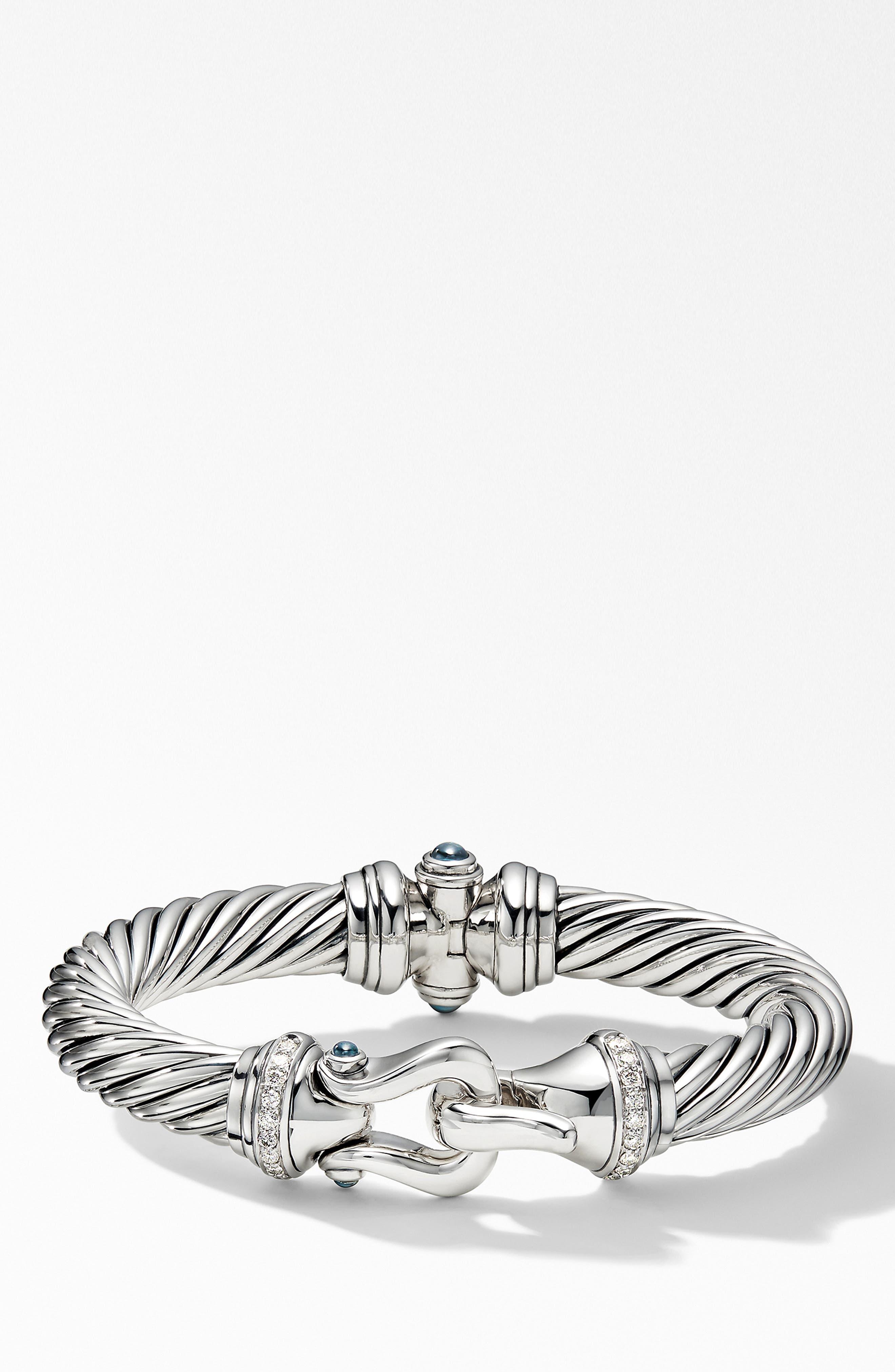 DAVID YURMAN, Cable Buckle Bracelet with Diamonds, Main thumbnail 1, color, HAMPTON BLUE TOPAZ