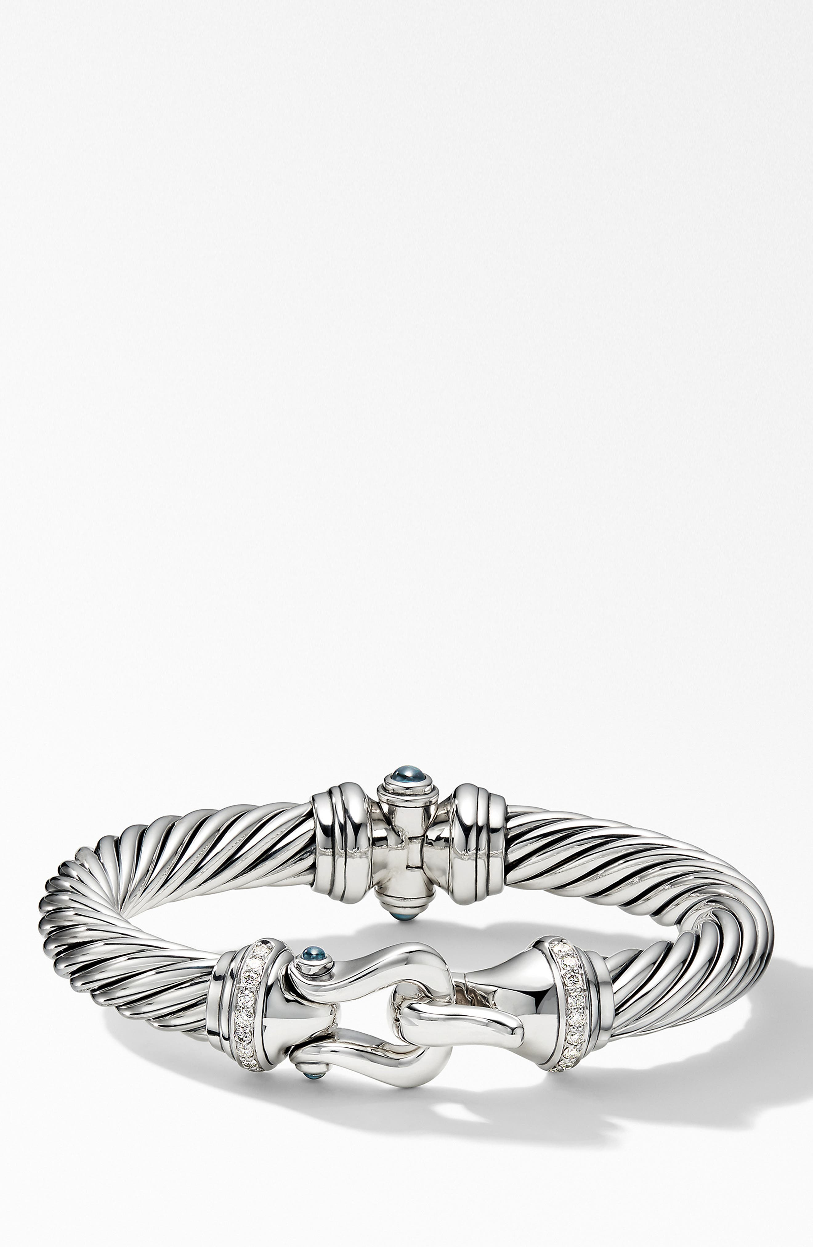 DAVID YURMAN Cable Buckle Bracelet with Diamonds, Main, color, HAMPTON BLUE TOPAZ