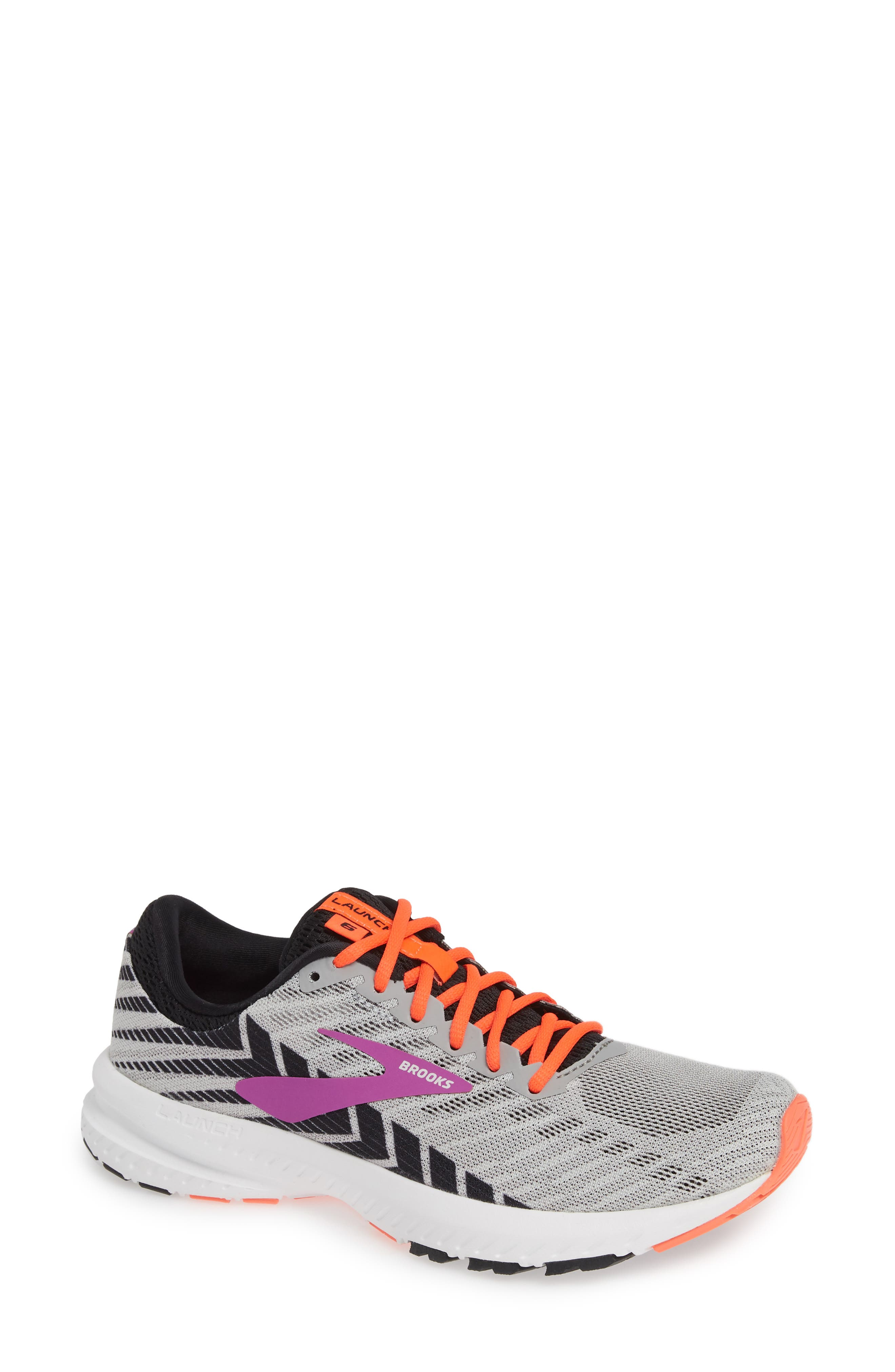 BROOKS, Launch 6 Running Shoe, Main thumbnail 1, color, GREY/ BLACK/ PURPLE