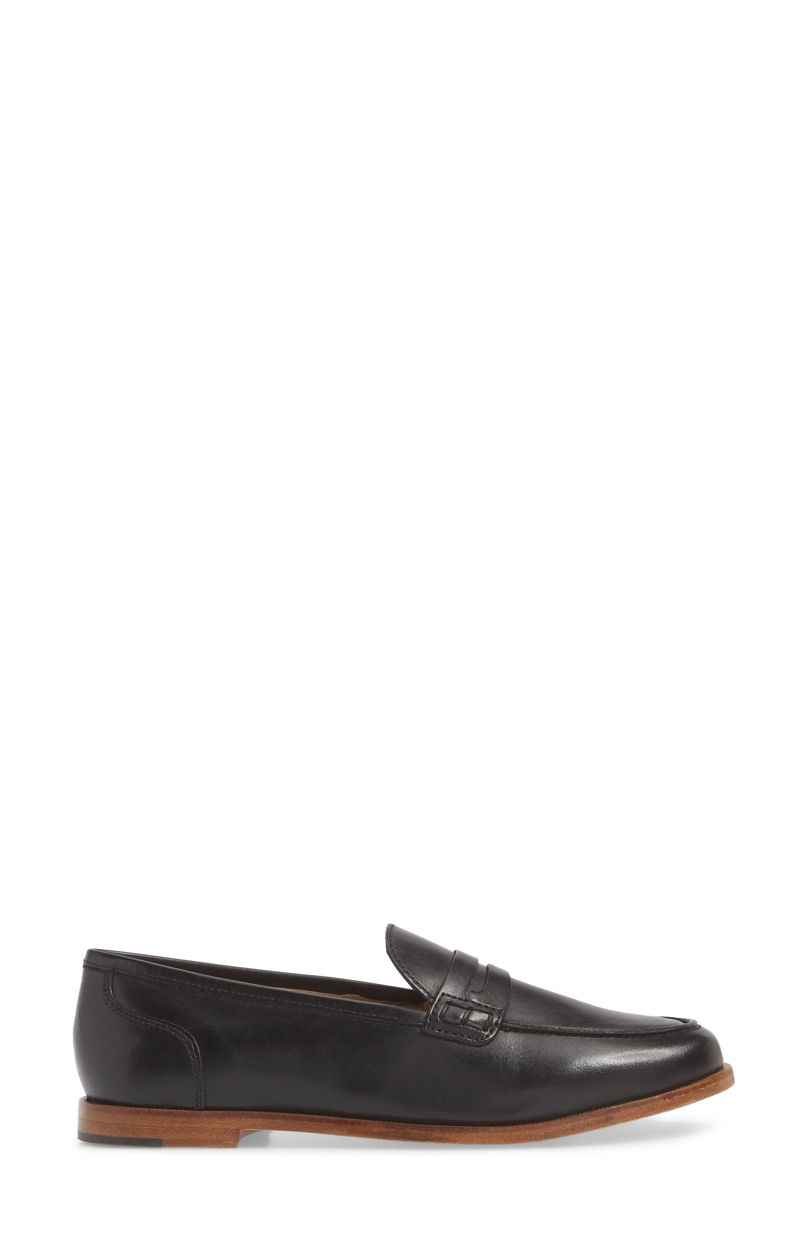J.CREW, Ryan Penny Loafer, Alternate thumbnail 3, color, BLACK LEATHER