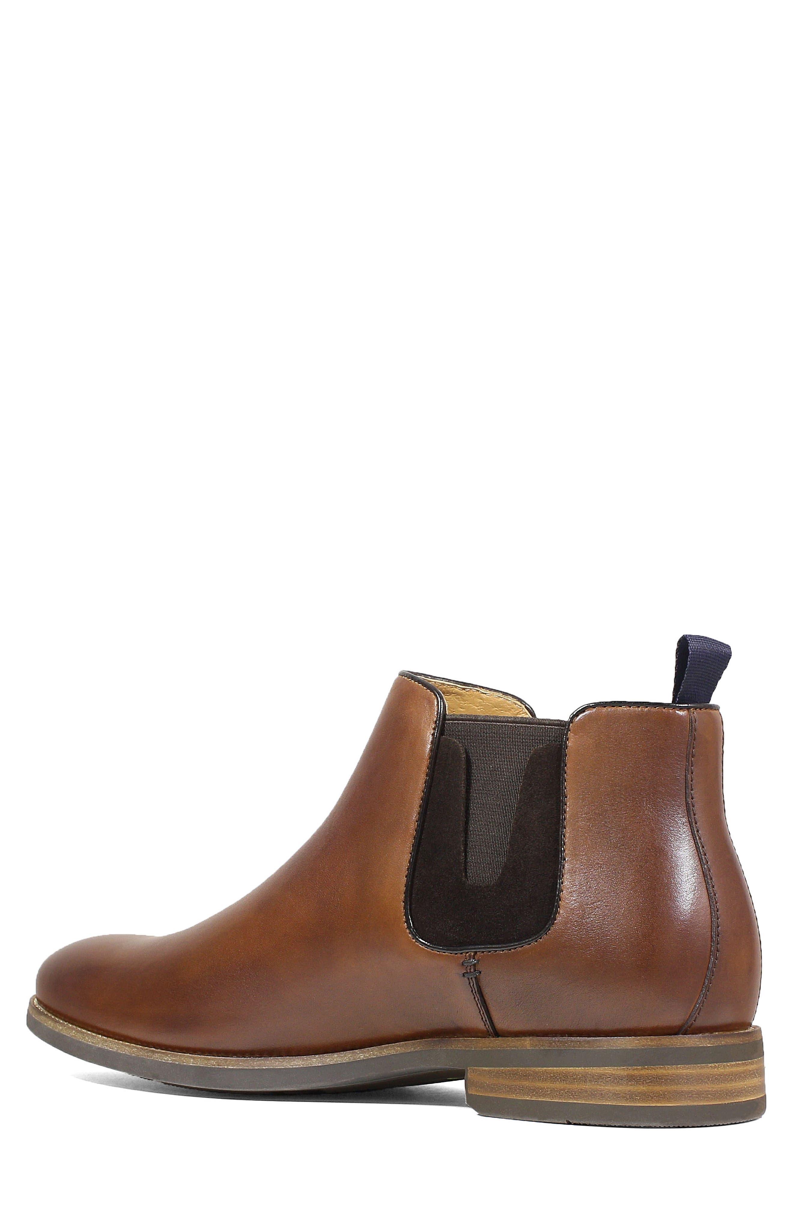 FLORSHEIM, Uptown Plain Toe Mid Chelsea Boot, Alternate thumbnail 2, color, COGNAC LEATHER