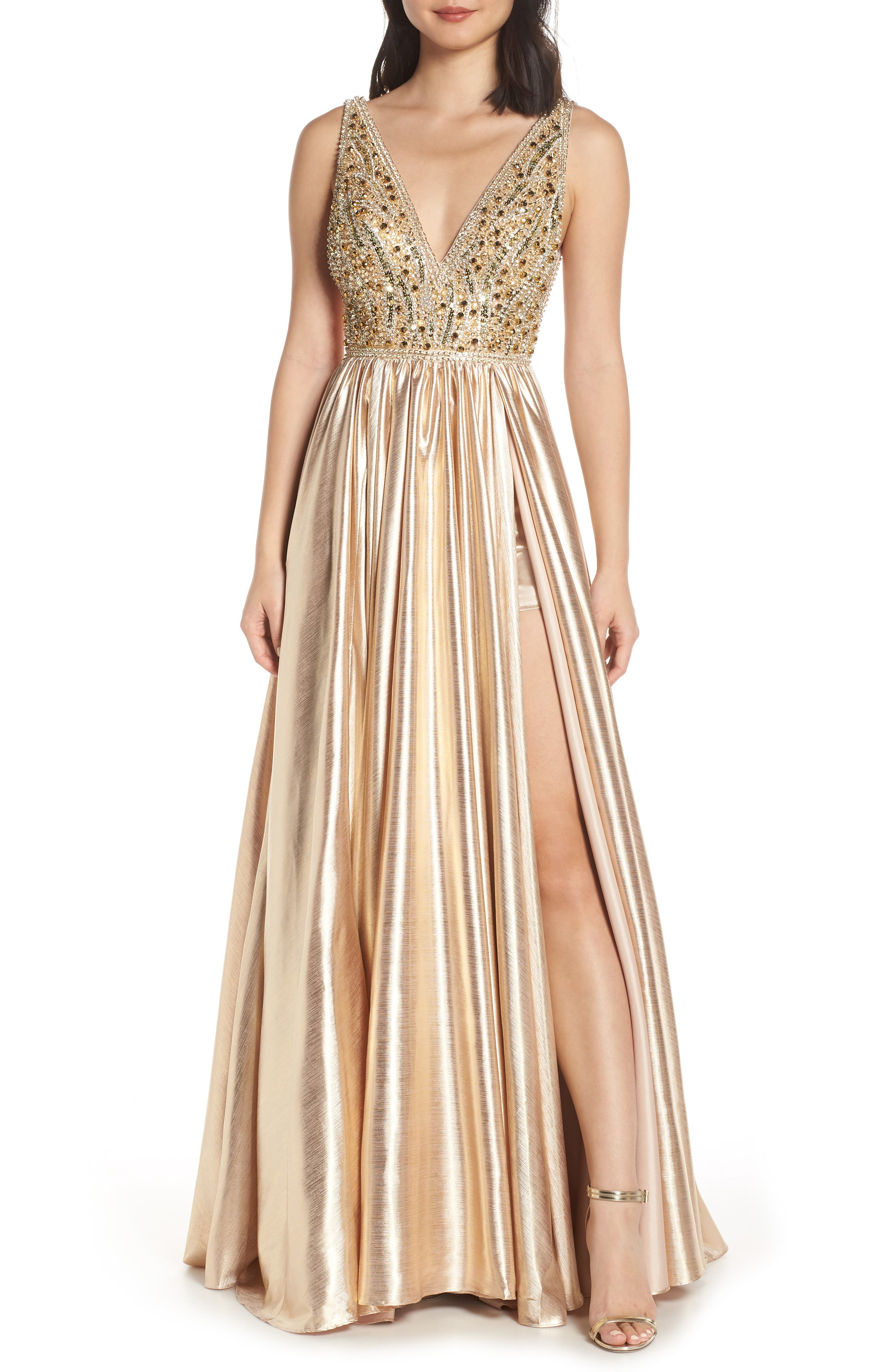MAC DUGGAL, V-Neck Metallic Sequin Evening Dress, Main thumbnail 1, color, GOLD