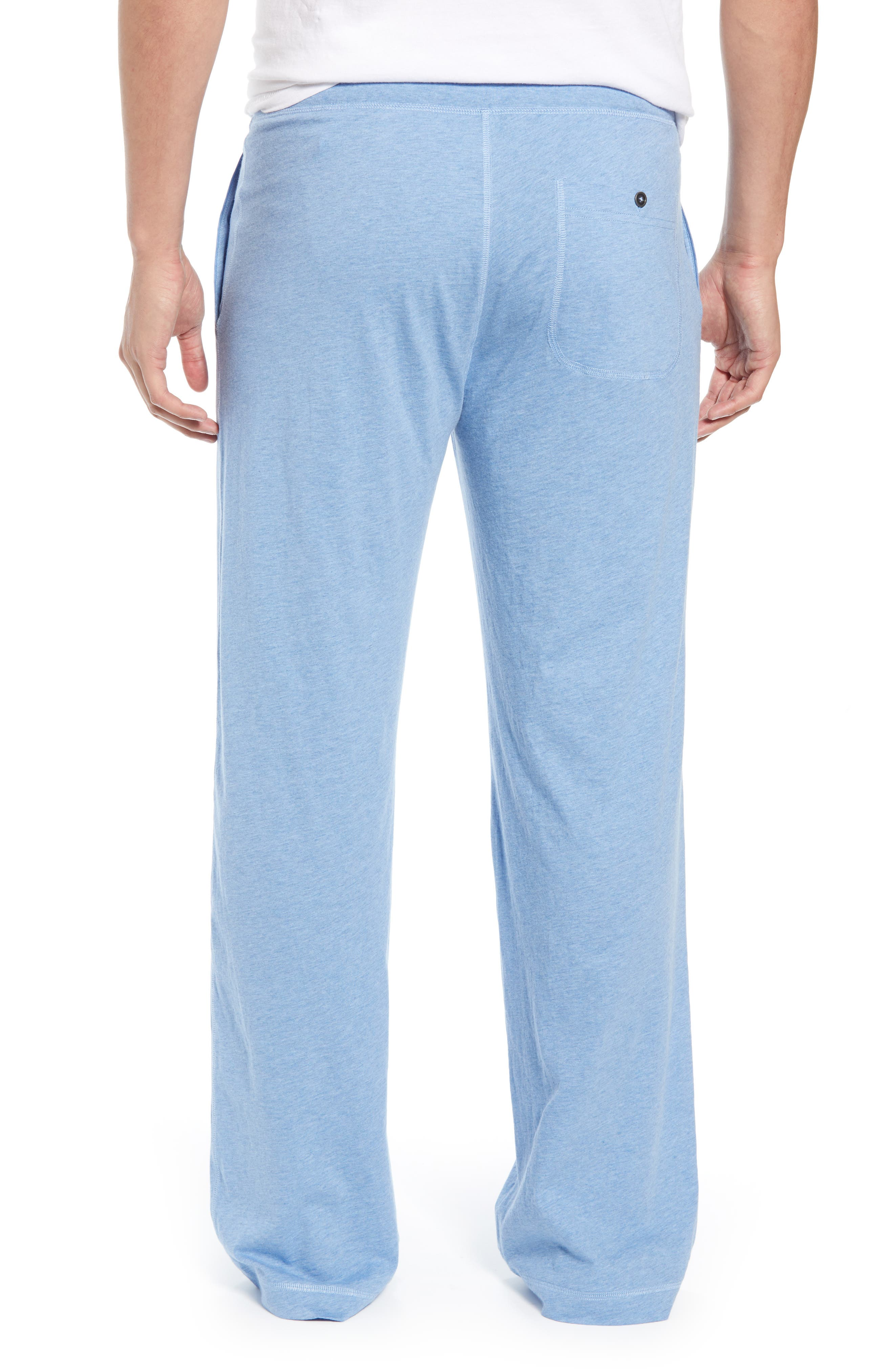DANIEL BUCHLER, Peruvian Pima Lightweight Cotton Lounge Pants, Alternate thumbnail 2, color, BLUE HEATHER