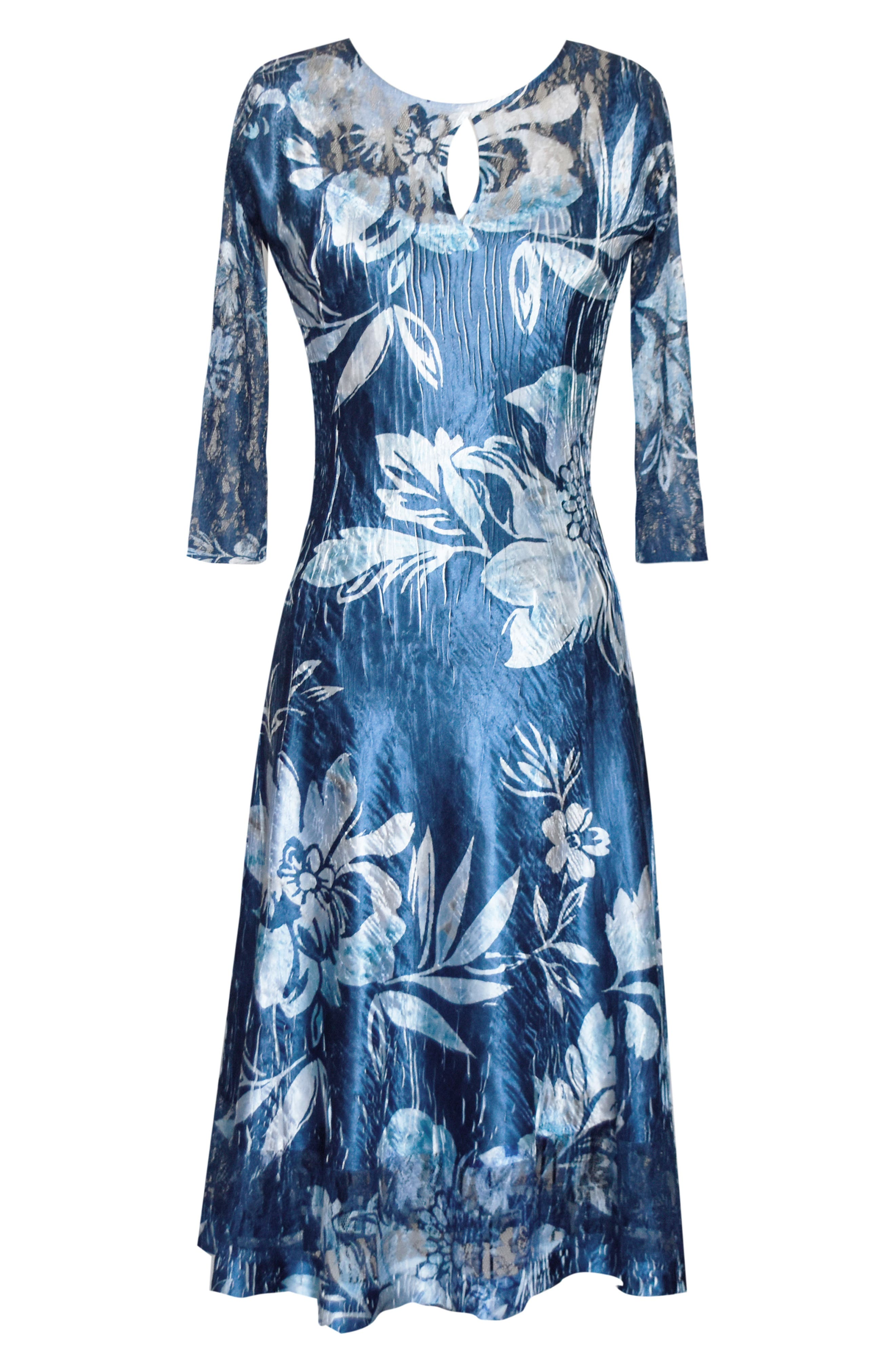 KOMAROV, Keyhole Cutout Floral Print Cocktail Dress, Alternate thumbnail 5, color, 400