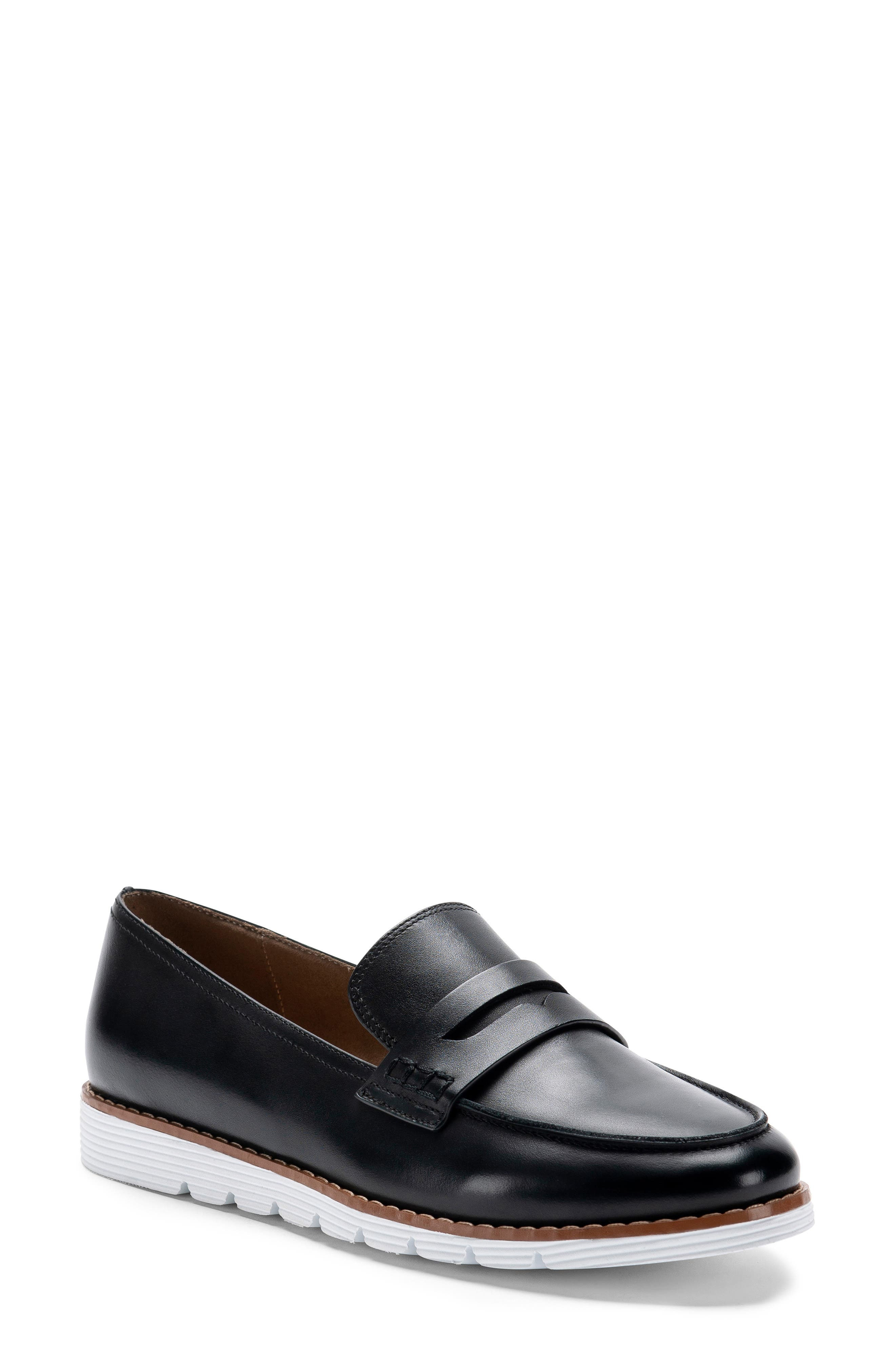 BLONDO Waterproof Penny Loafer, Main, color, BLACK LEATHER