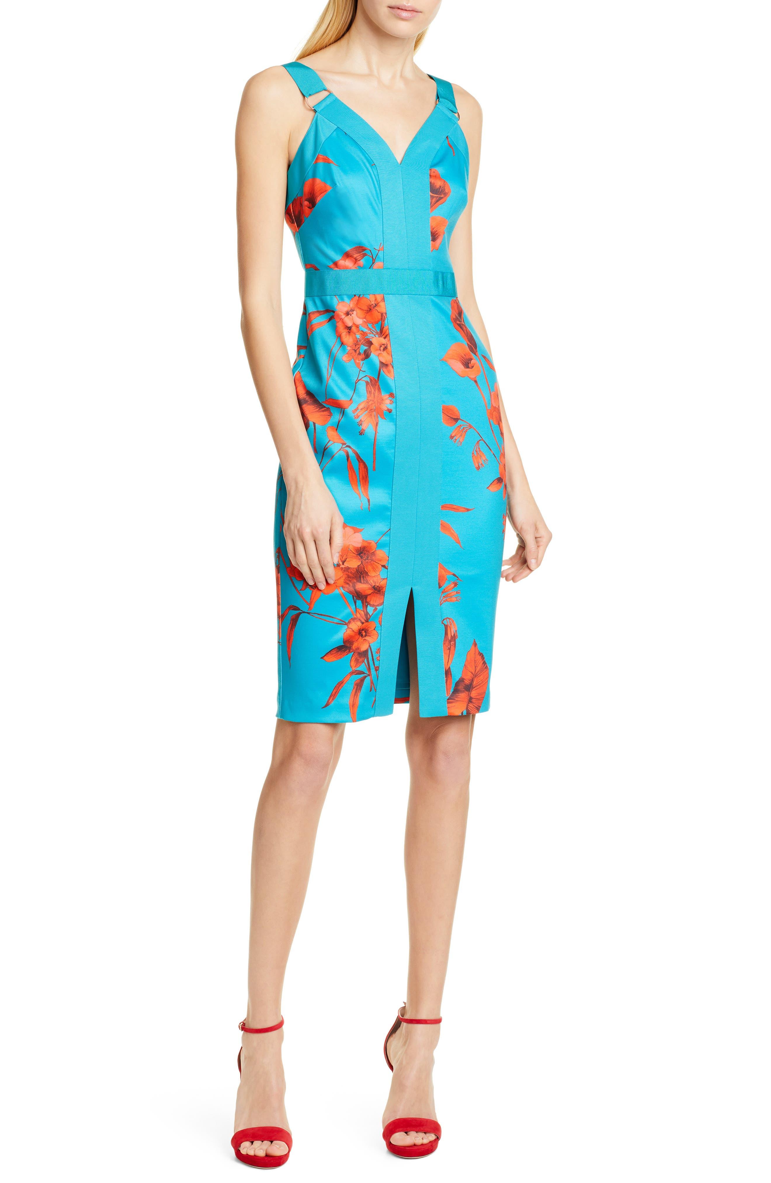 Ted Baker London Jordja Fantasia Panel Body-Con Dress, Blue